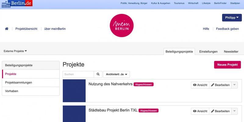 Der Einstieg ins Dashboard der Web-App, eine Übersicht aller Projekte einer Organisation