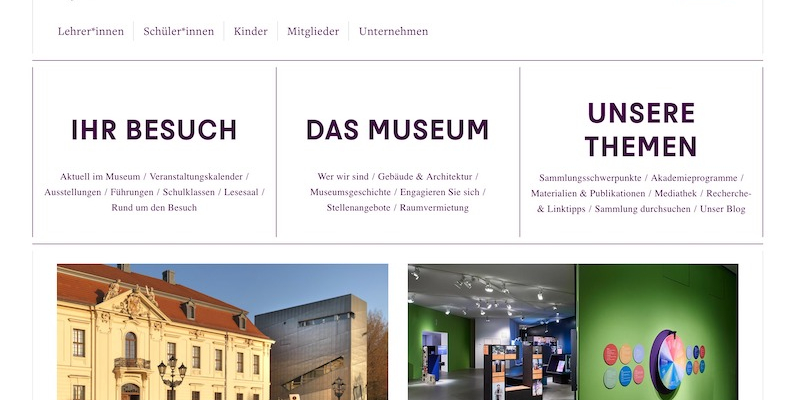 Die Landingpage des Jüdischen Museums Berlin