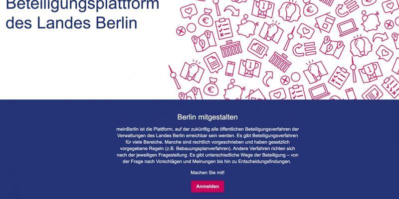 Startseite der entwickelten Web-App mein.Berlin