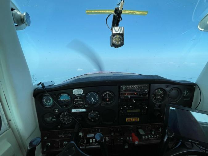 Aircraft cockpit in flight.