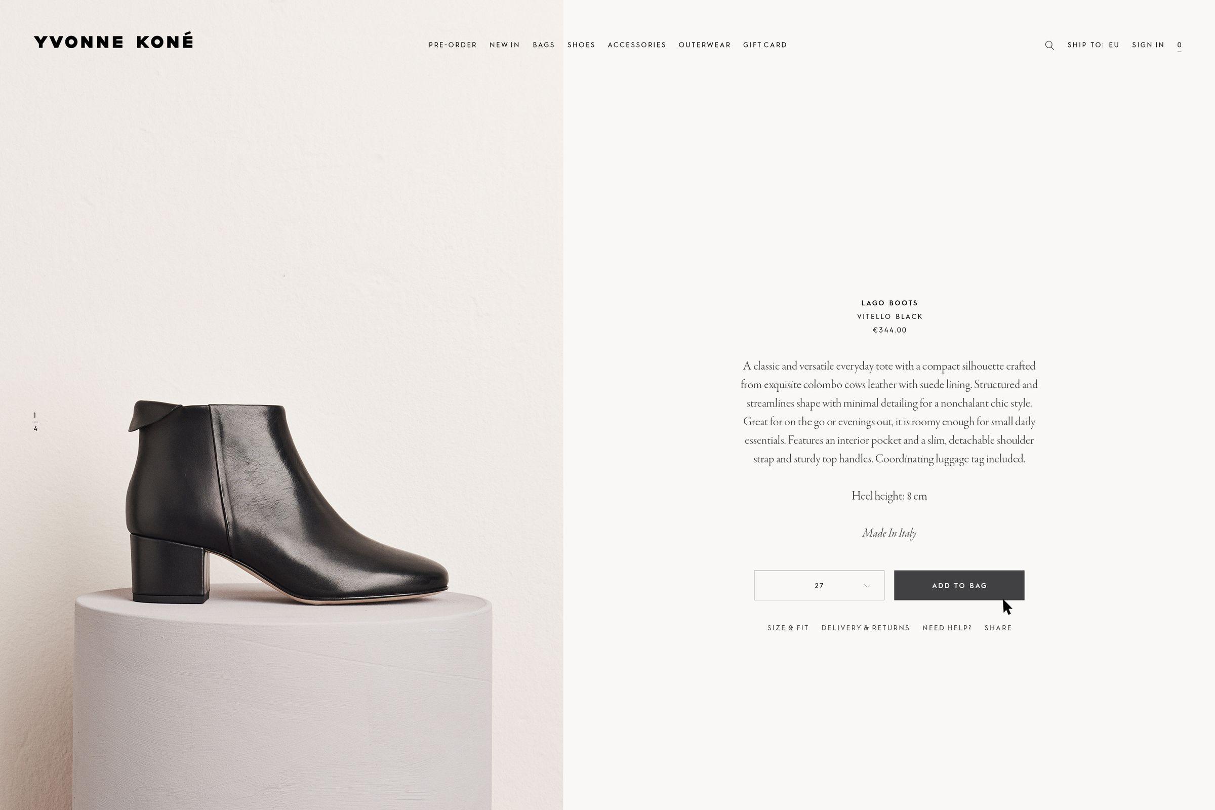 Yvonne Kone ecommerce website design