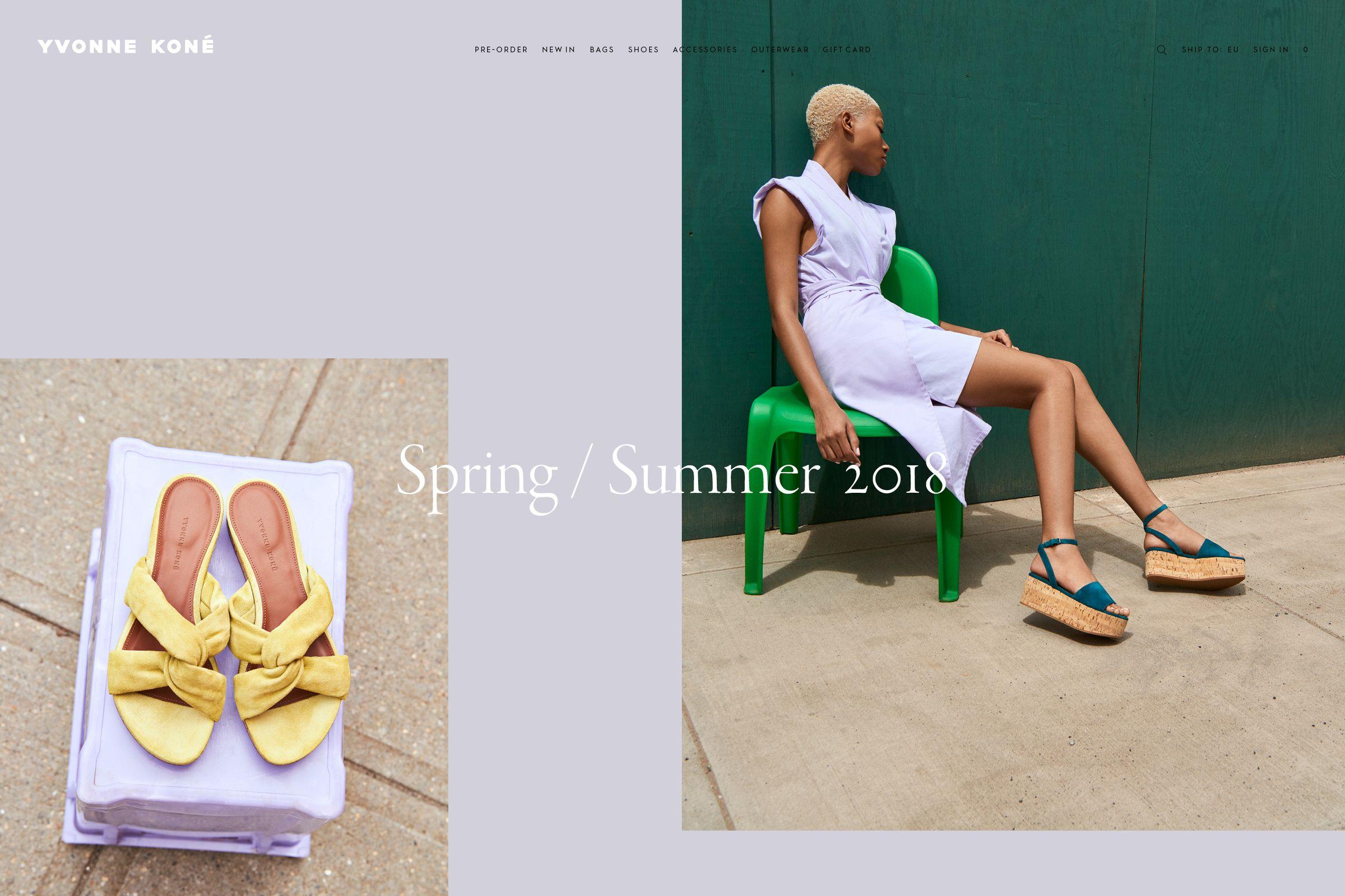 Yvonne Kone website design for homepage