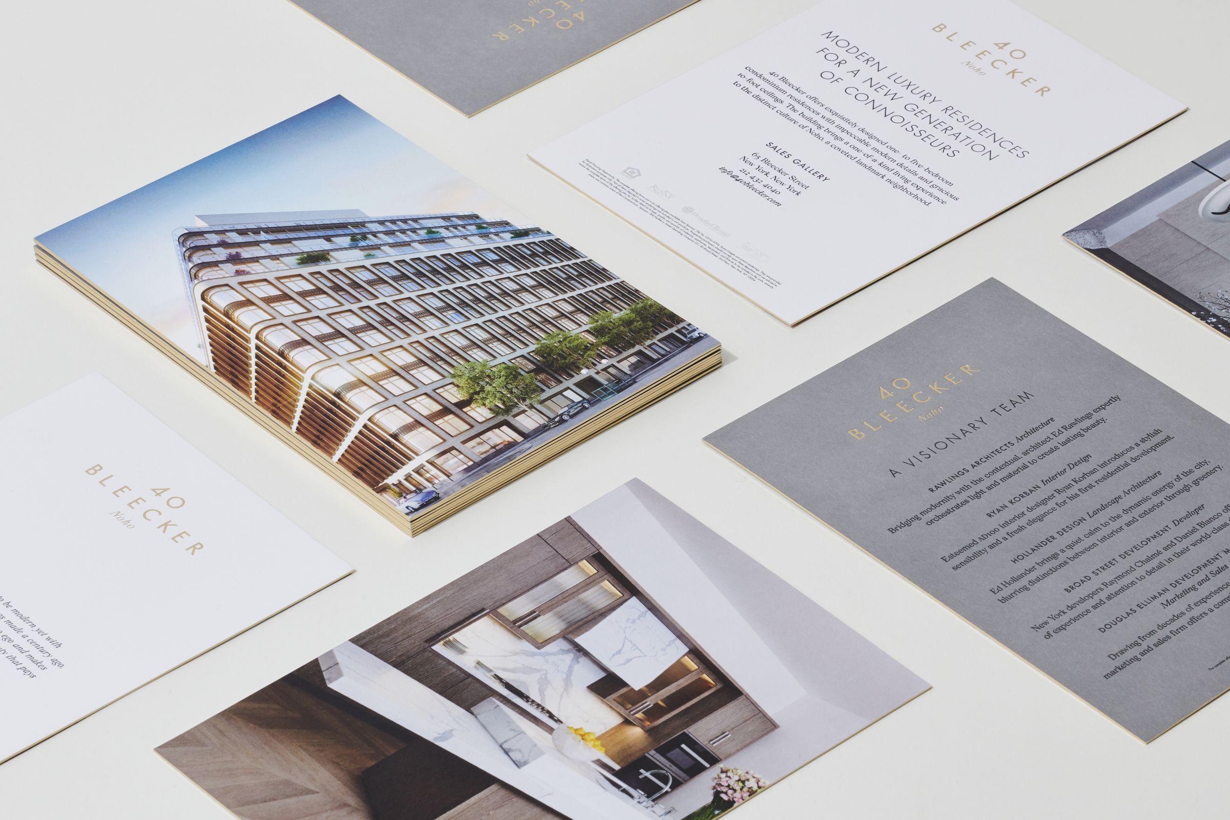 40 Bleecker marketing materials close up of gilded cards