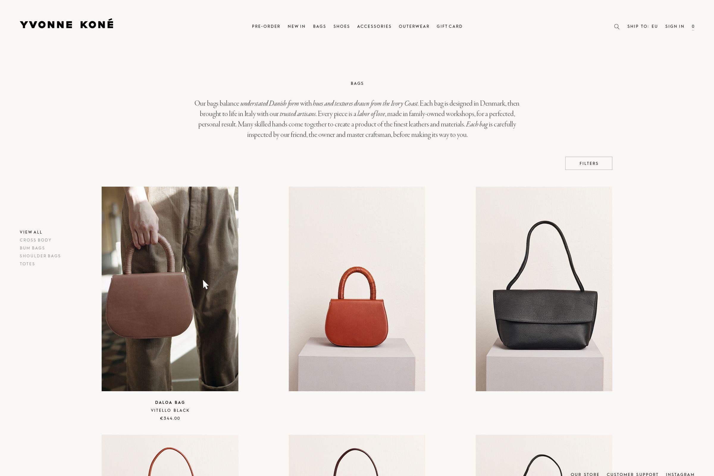 Yvonne Kone website design ecommerce bags