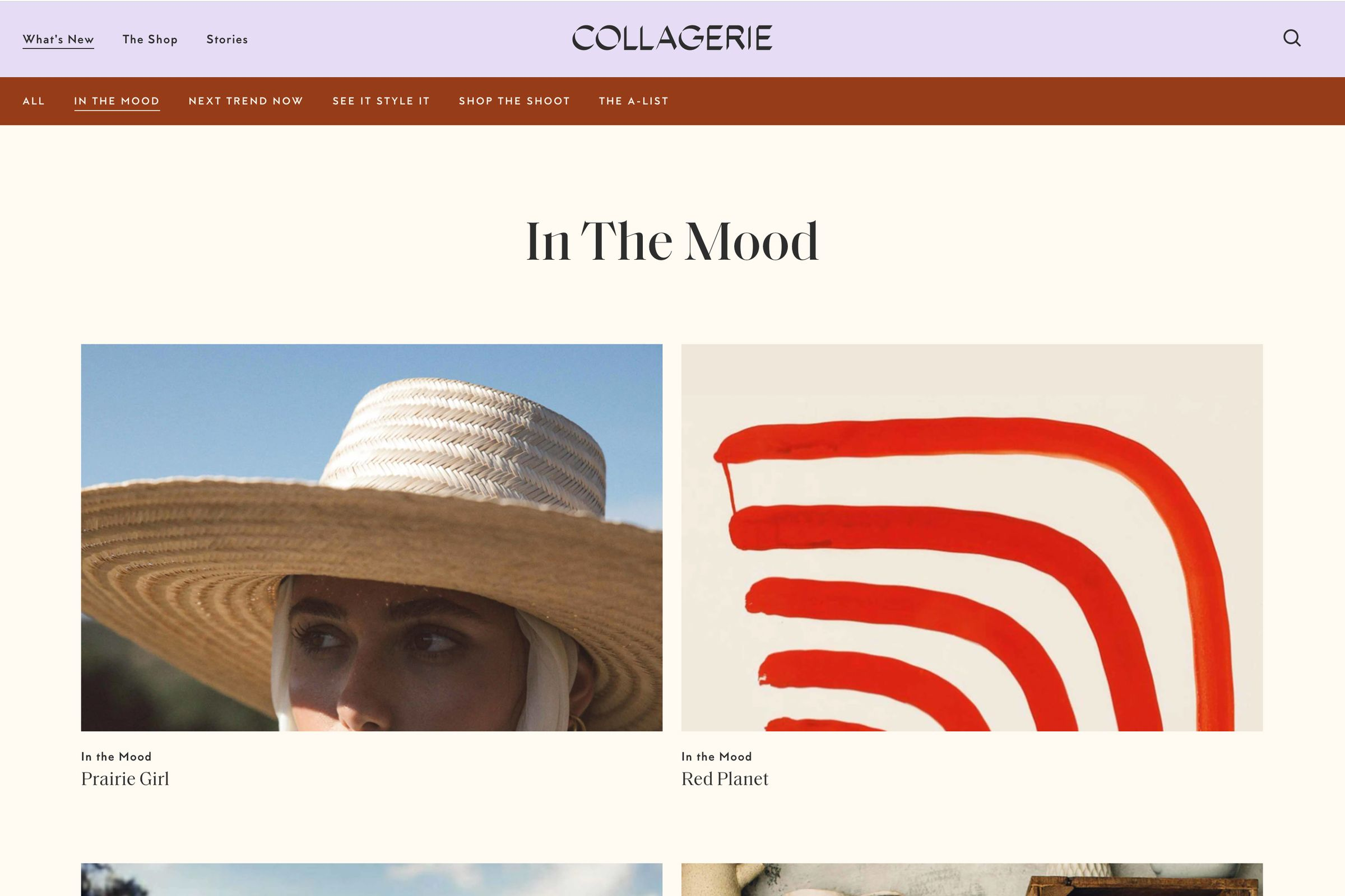 Collagerie website design In The Mood
