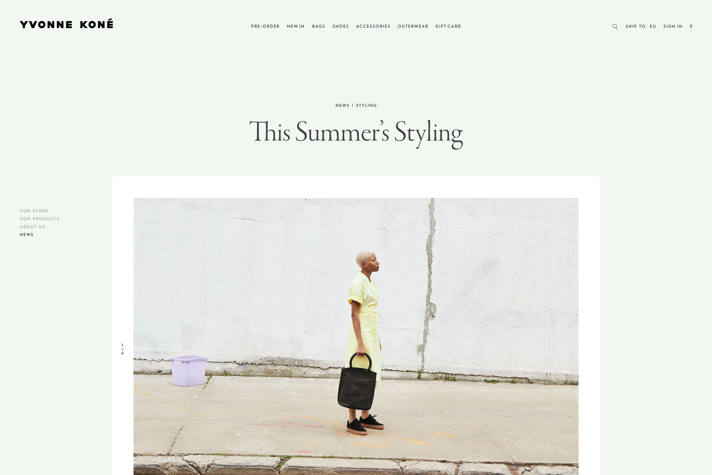 Yvonne Kone website design editorial page