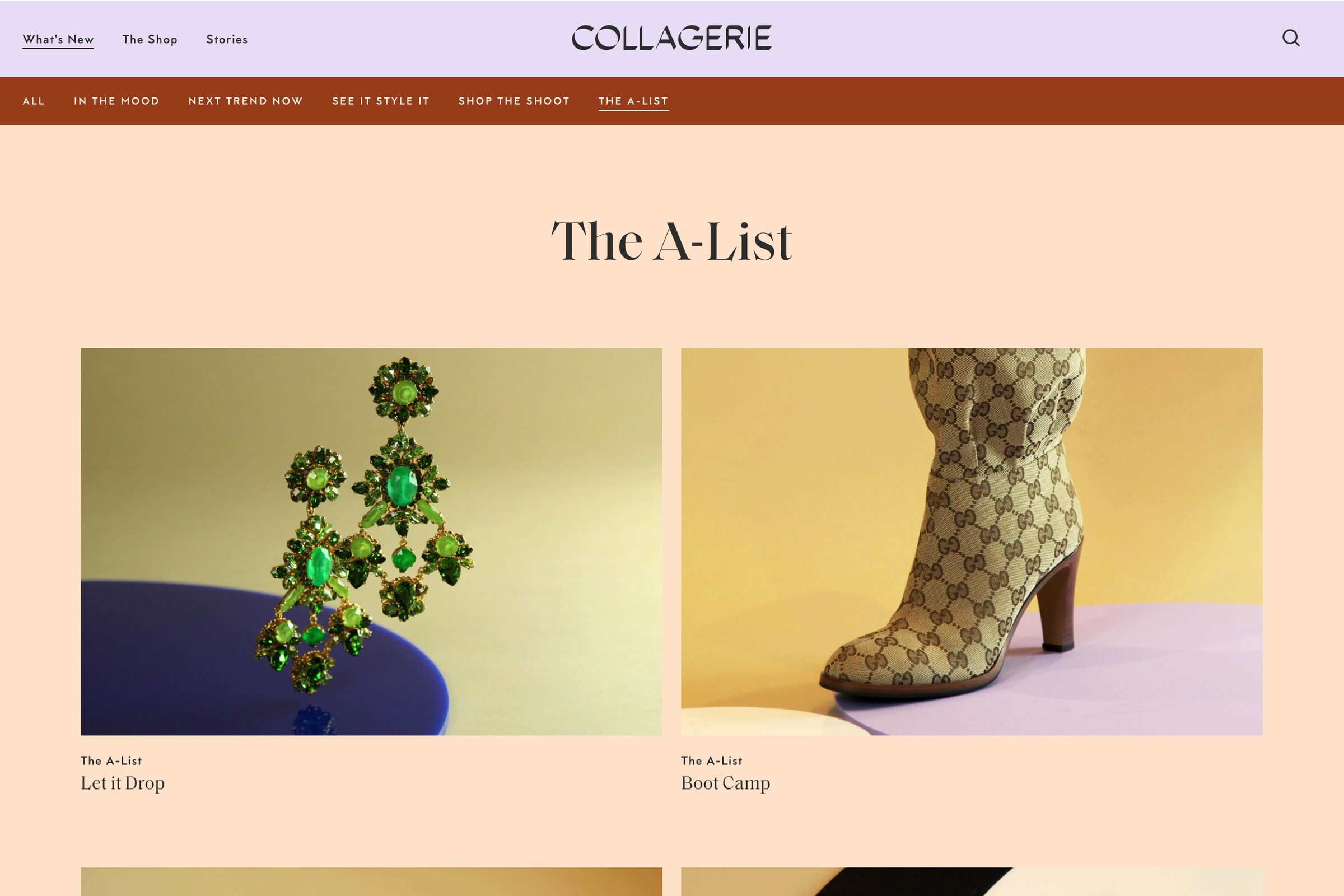 Collagerie website design The A-List