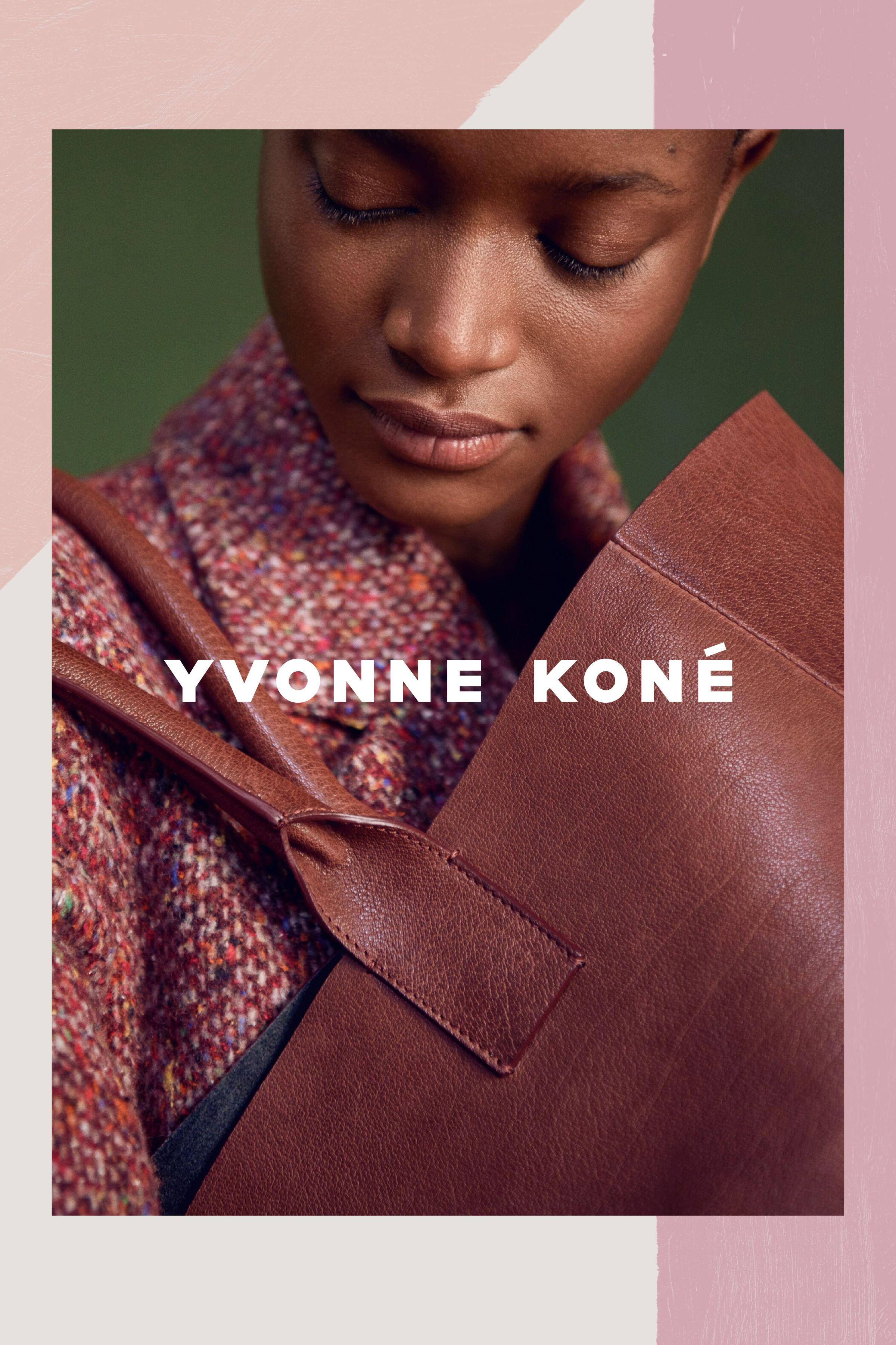 Yvonne Koné campaign image with graphic pattern border