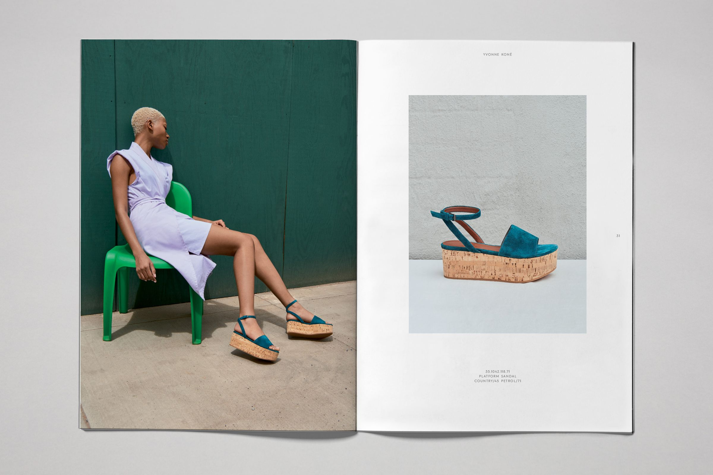 Yvonne Kone catalog layout design with platform sandals