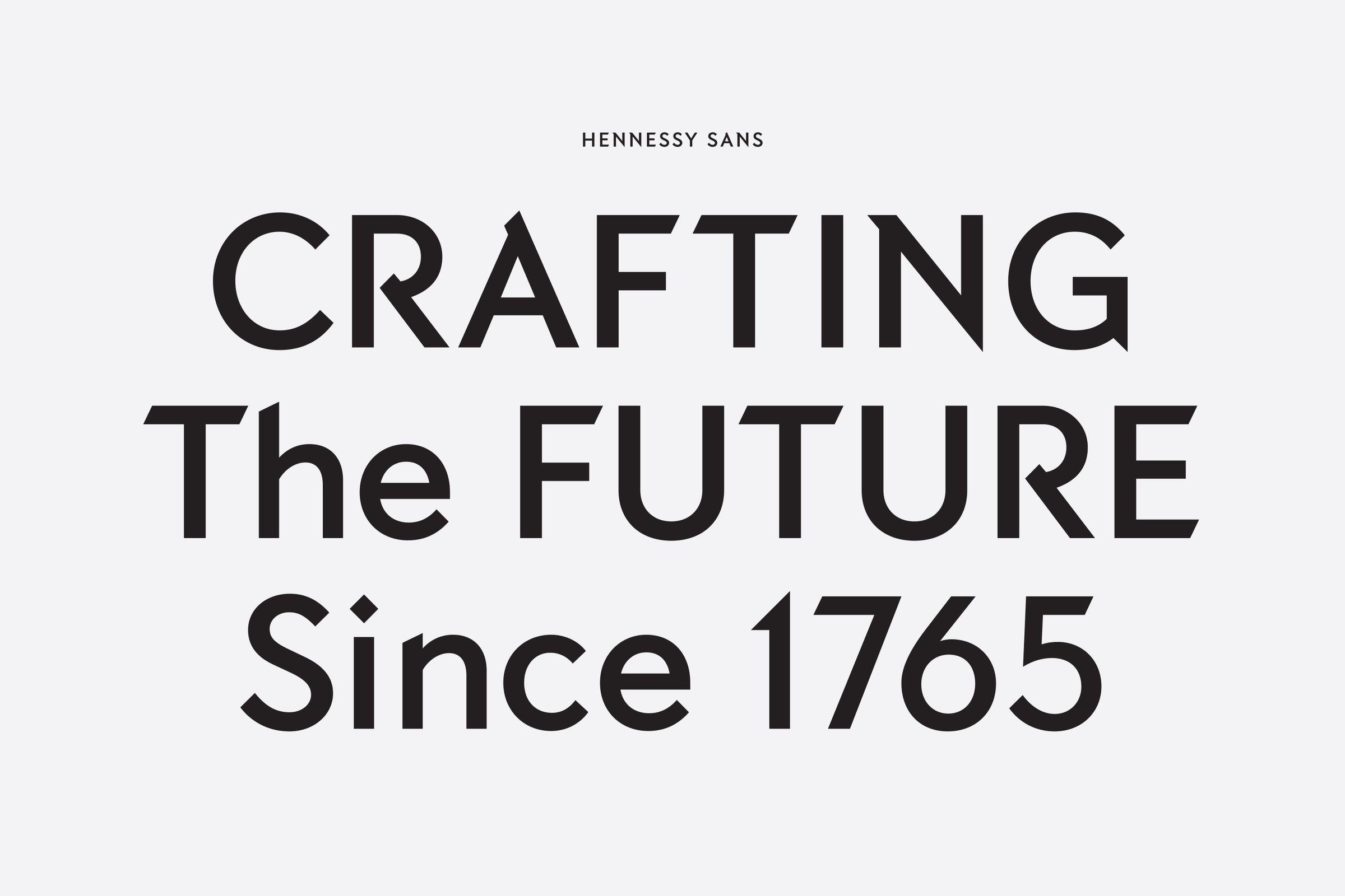 Hennessy custom sans-serif typeface font design