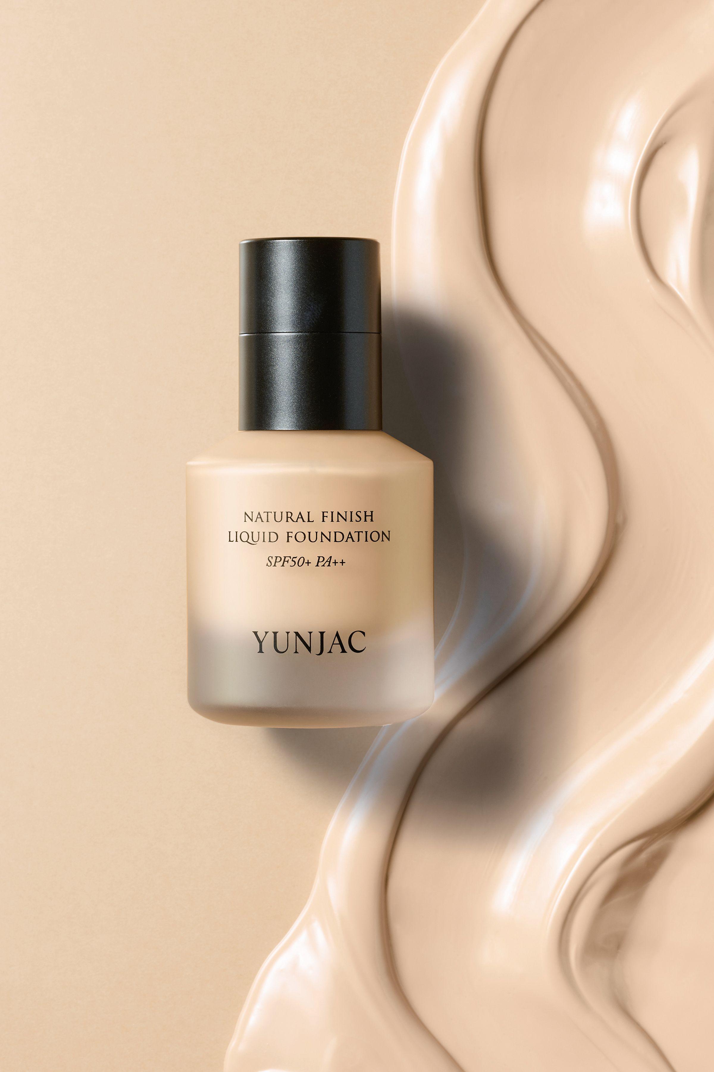 Yunjac Natural Finish Liquid Foundation packaging design still life photograph