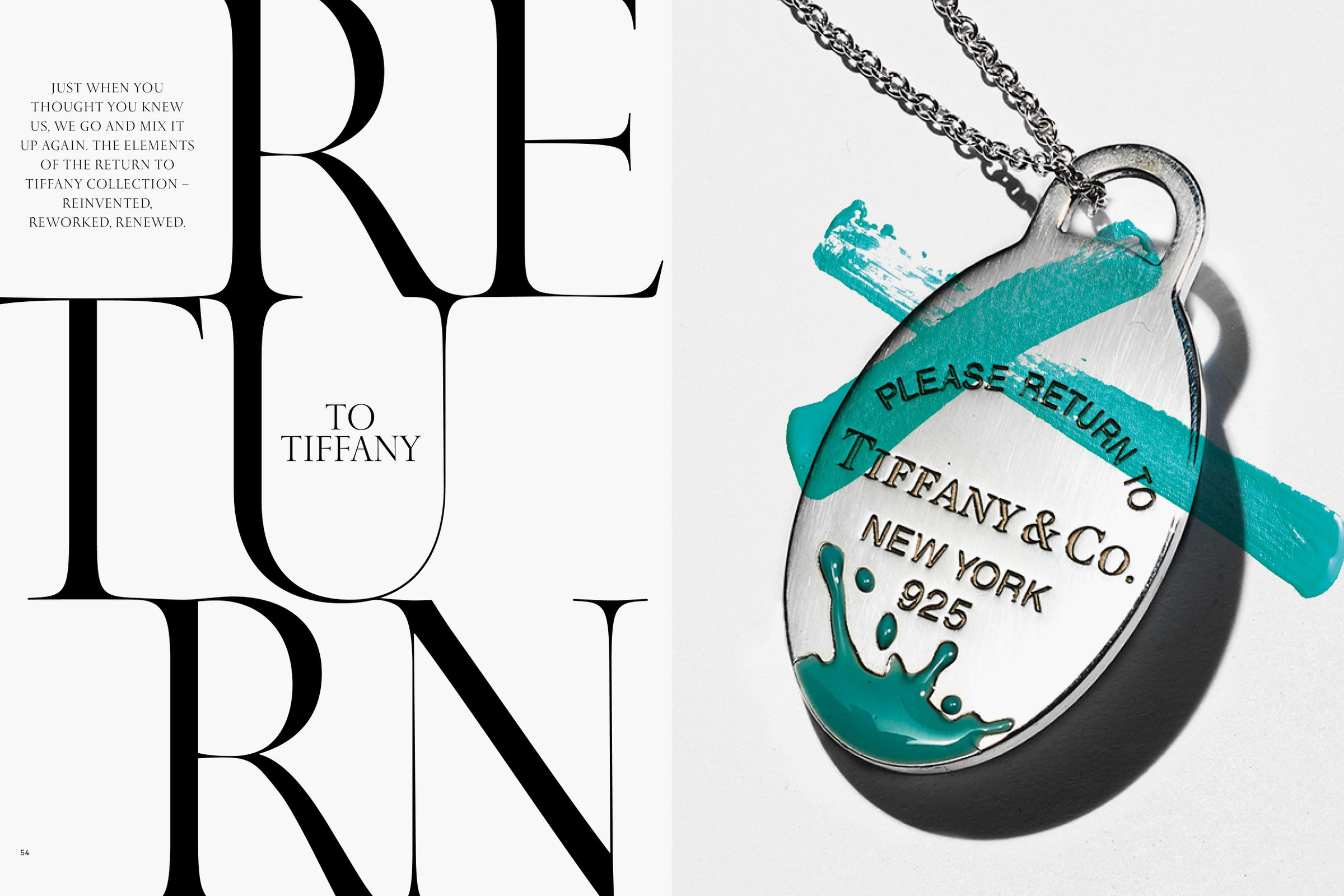 This is Tiffany magazine Issue 6 Return to Tiffany opening spread title layout