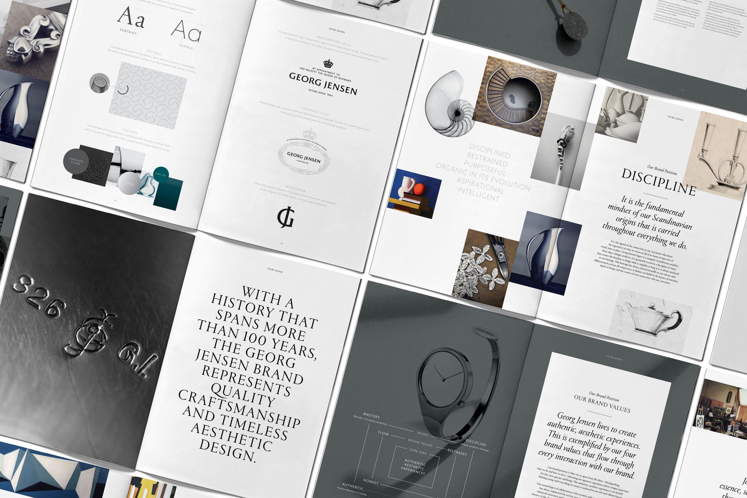 Spreads of Georg Jensen brand positioning book
