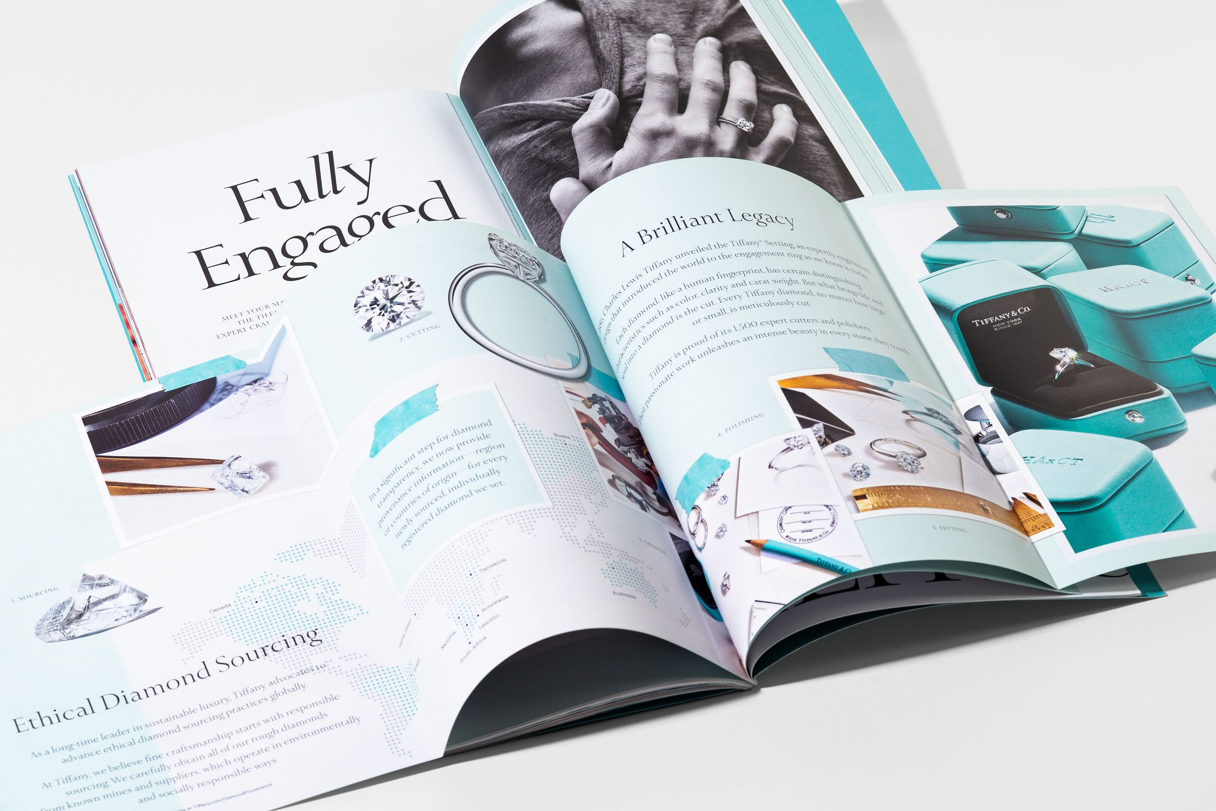 This is Tiffany magazine issue 9 engagement story spread design