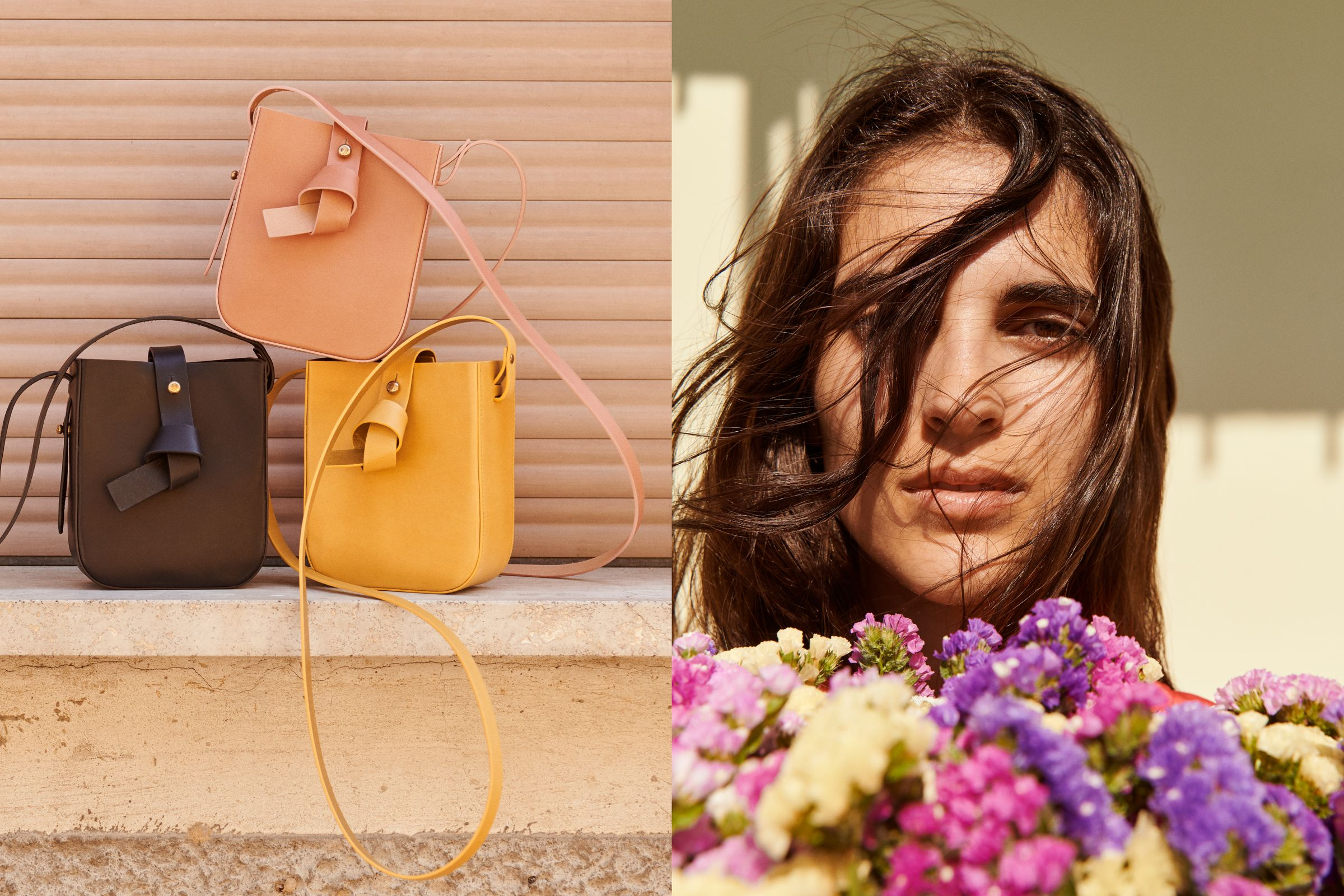 Yvonne Kone campaign art direction bags and flowers in Italy