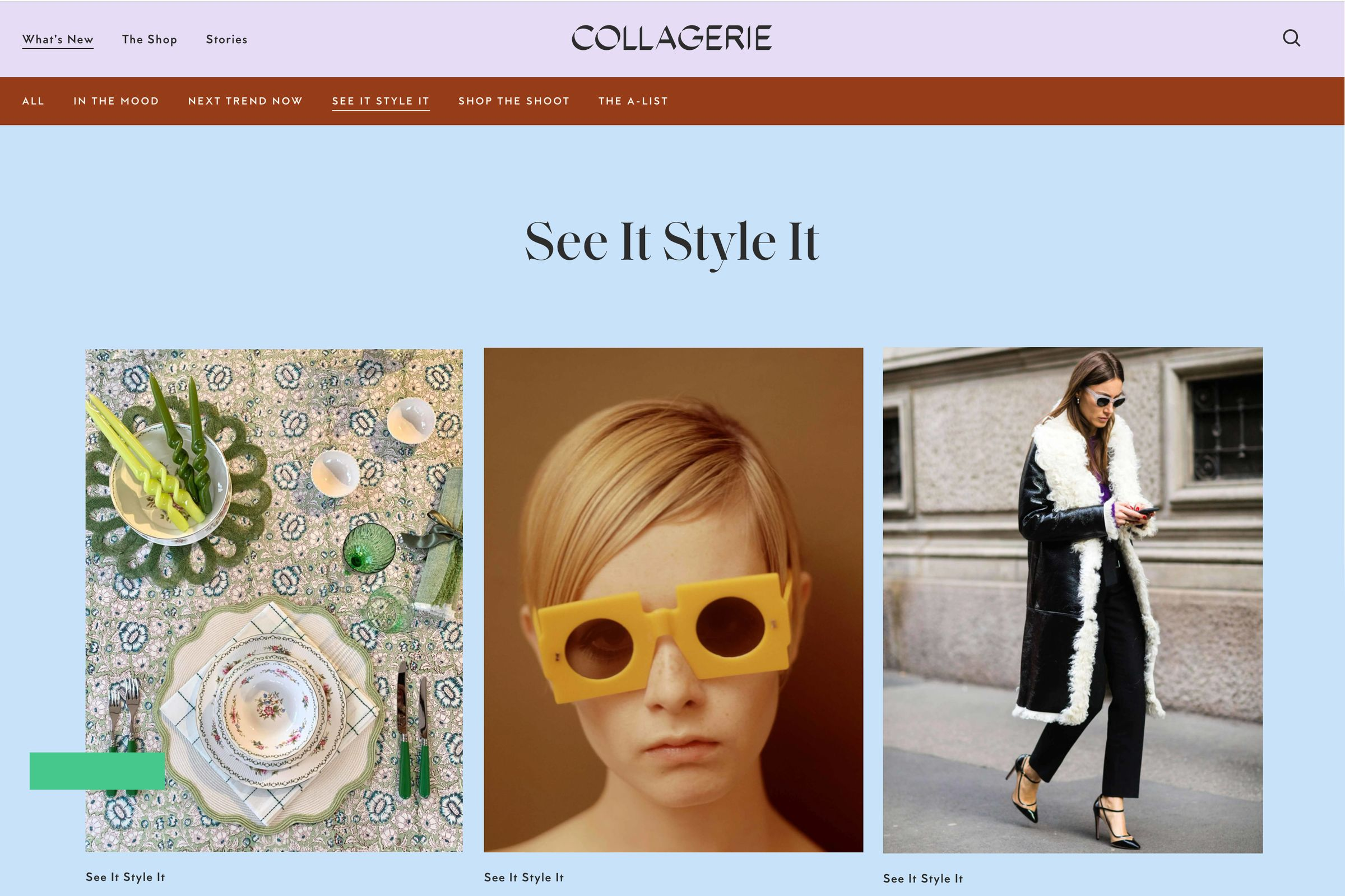 Collagerie website design See It Style It