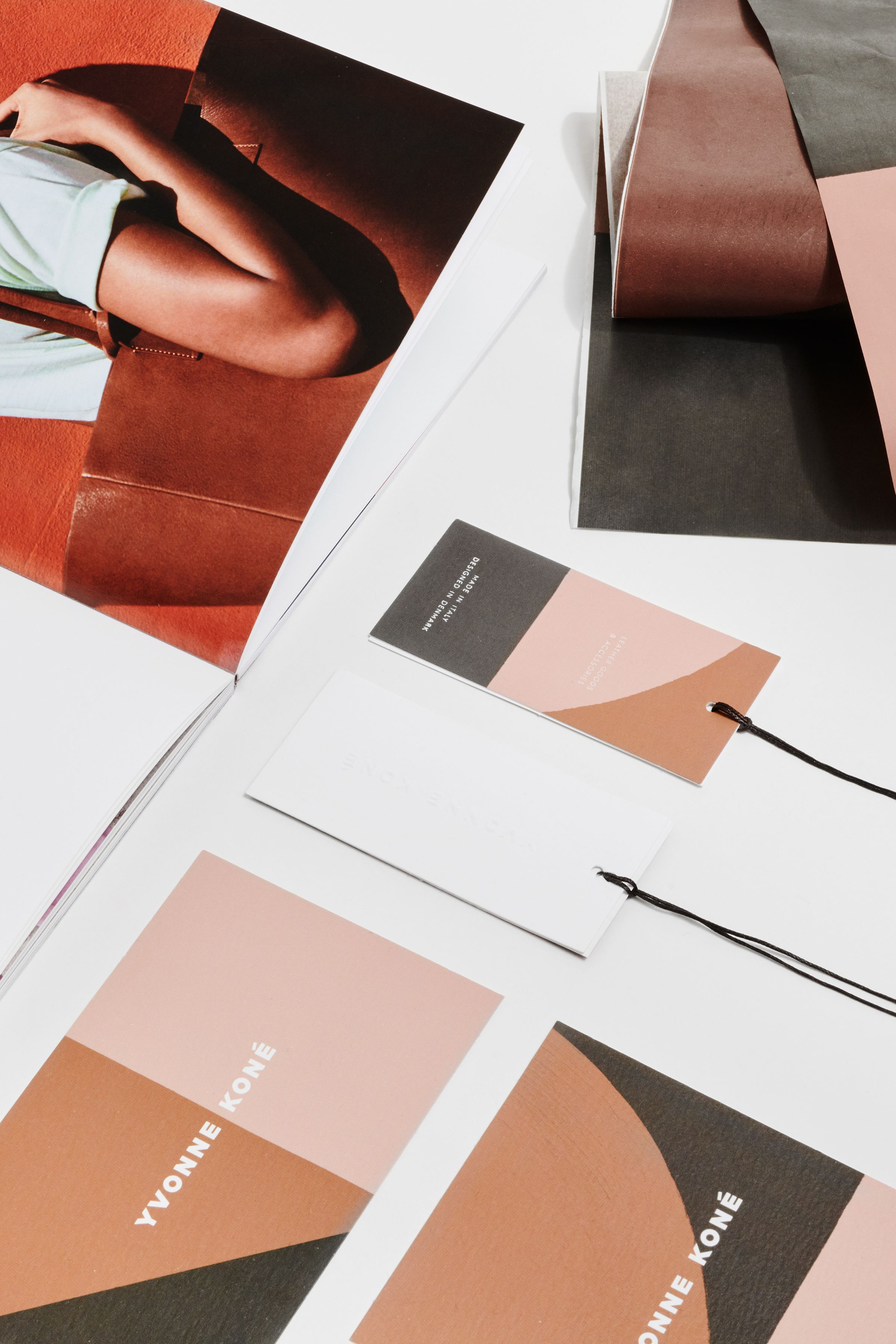 Yvonne Koné catalog and tag design