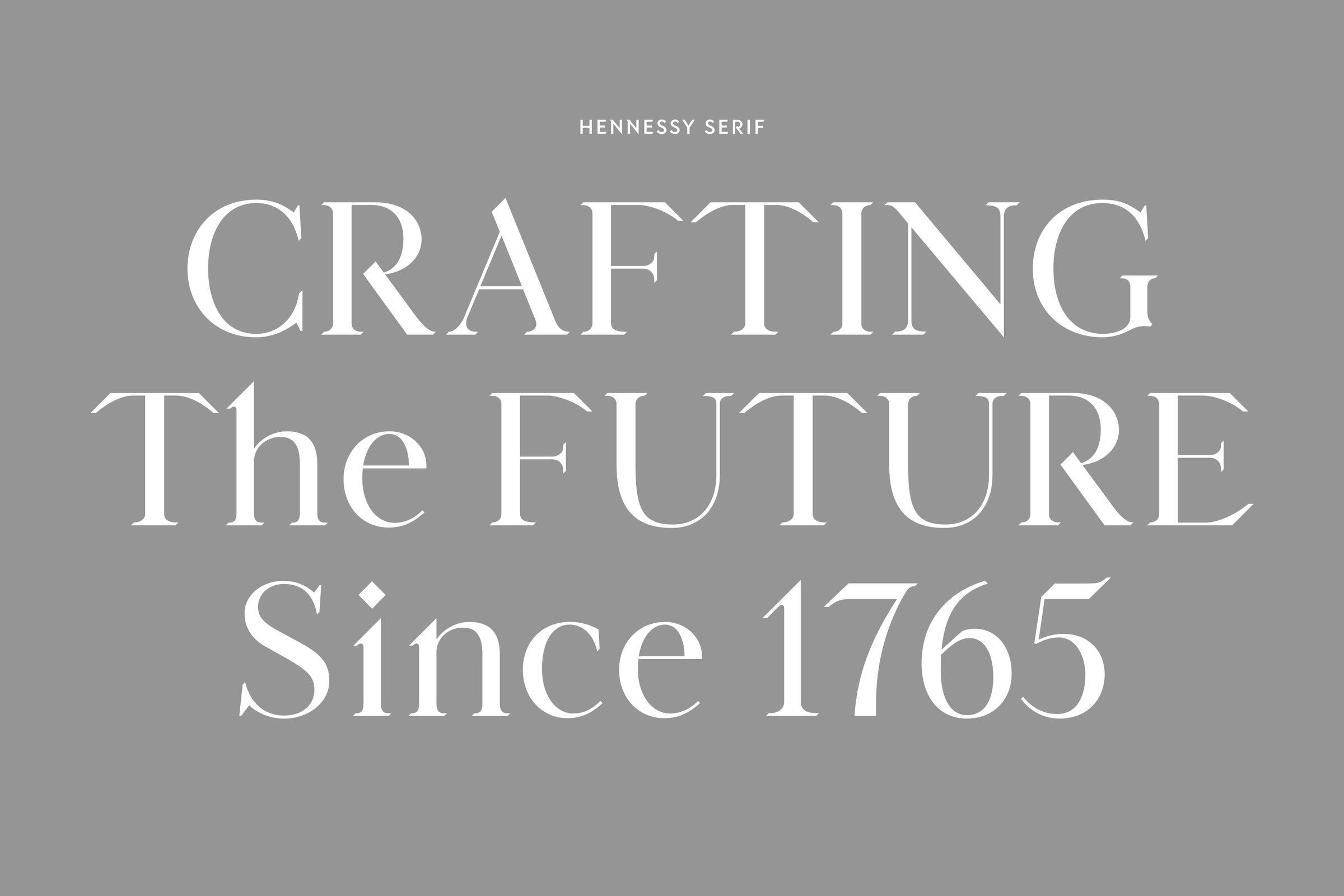 Hennessy custom serif typeface font design