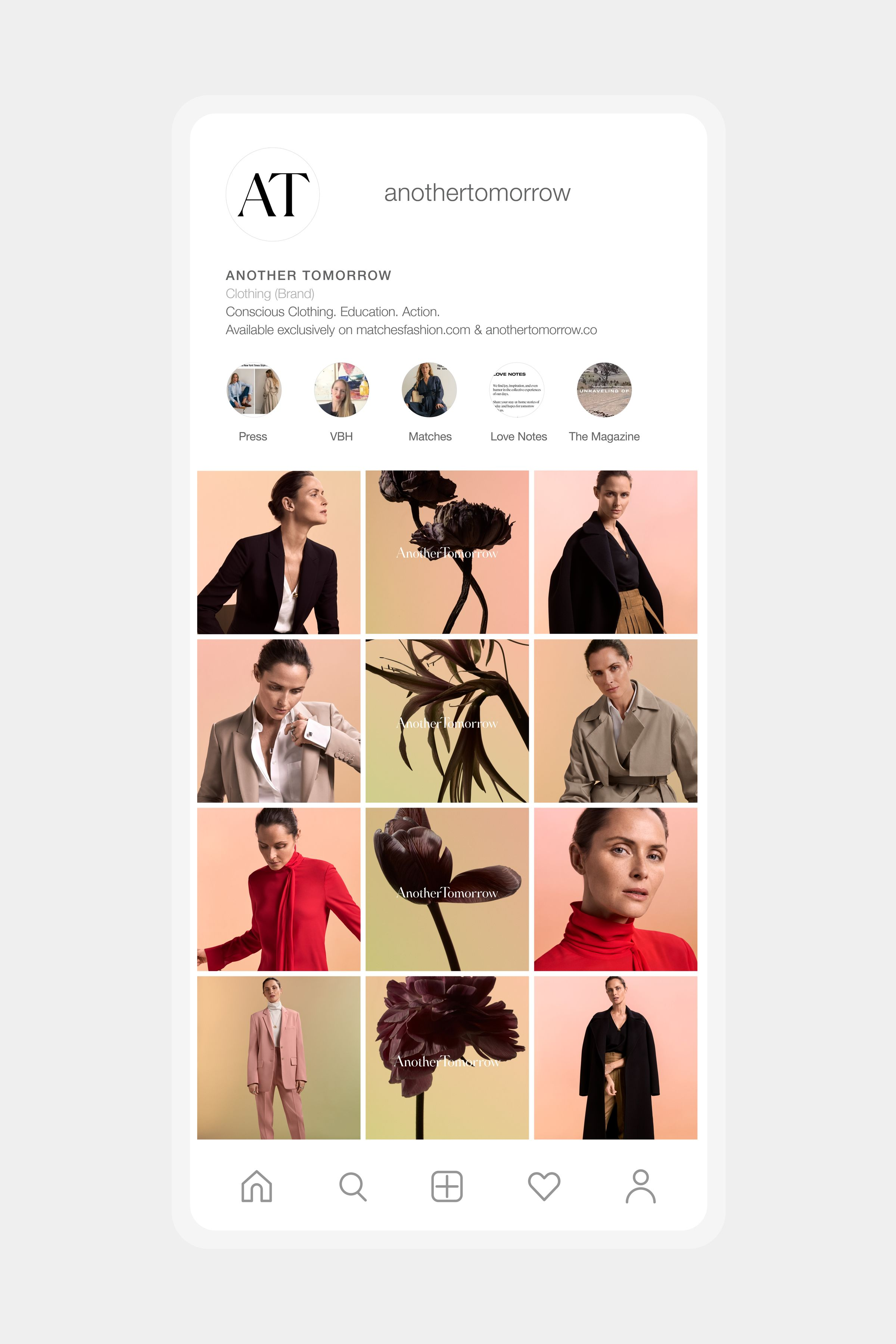 Another Tomorrow website design collection page