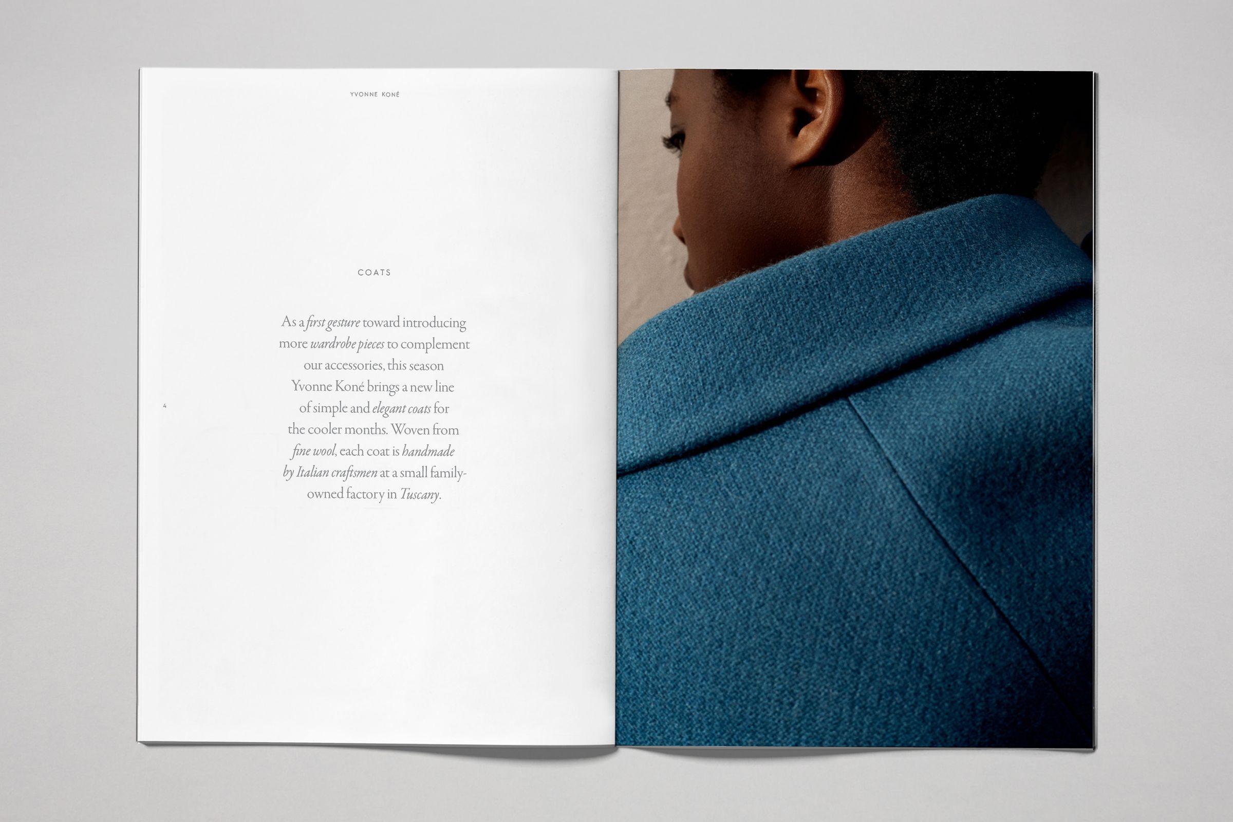 Yvonne Kone catalog layout design blue coat