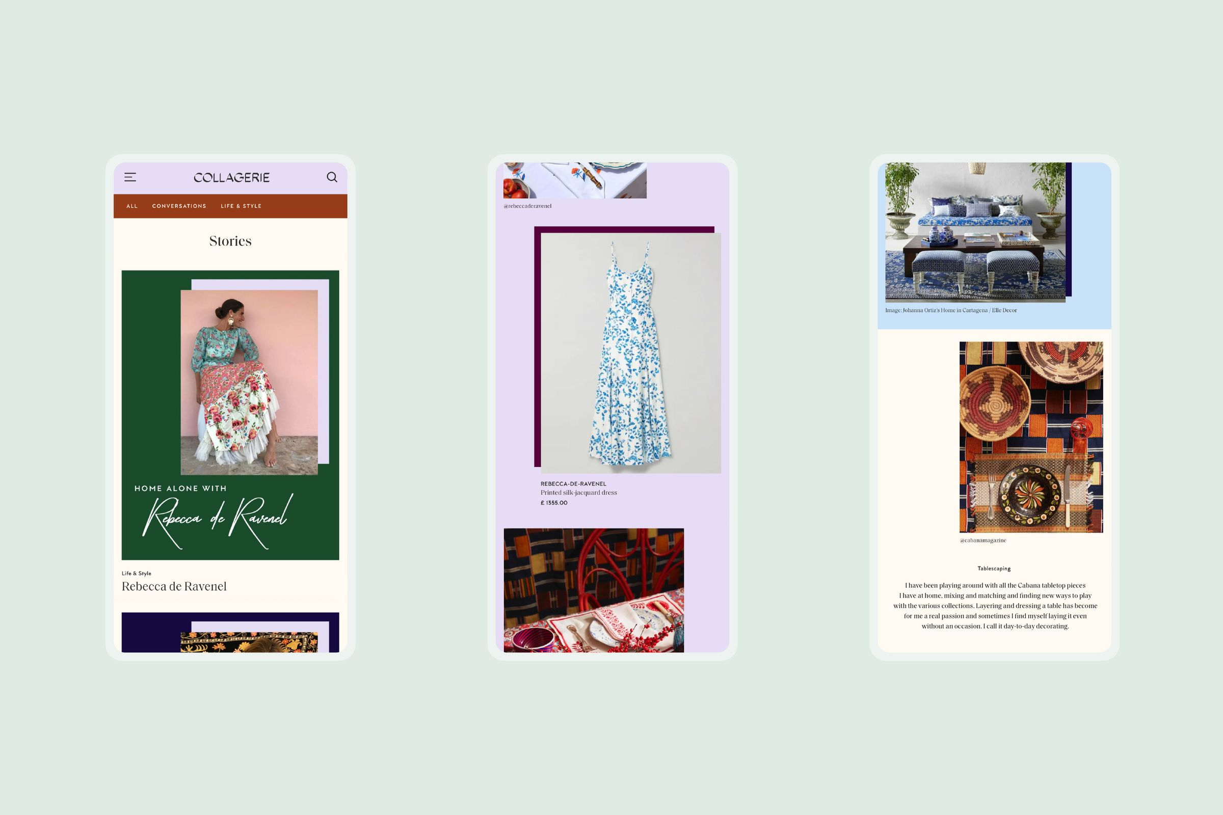 Collagerie website design, with stories on mobile screens
