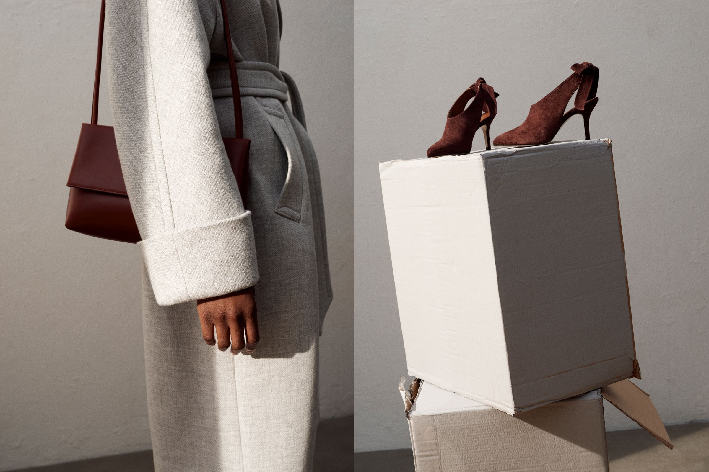 Yvonne Kone campaign art direction with gray coat, Tatiana pumps, and leather bag