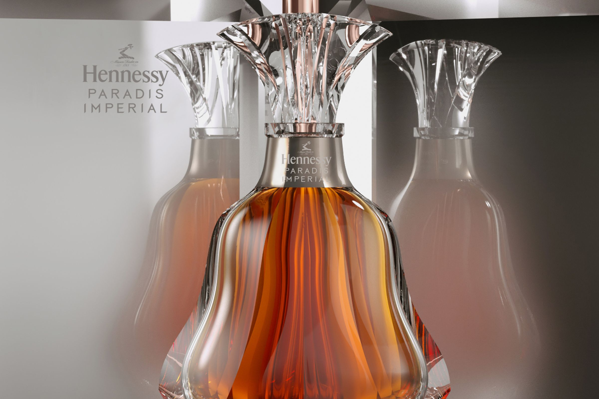 Hennessy Paradis Impérial logo design applied to bottle and box