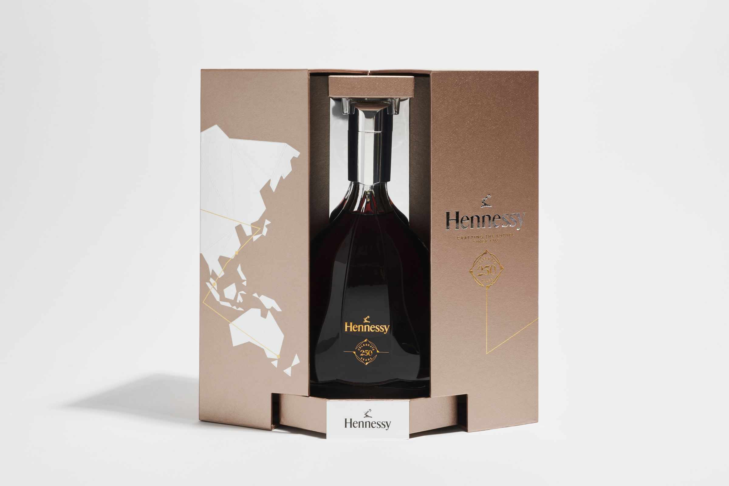 Hennessy 250 anniversary collector's blend box open with logo applied