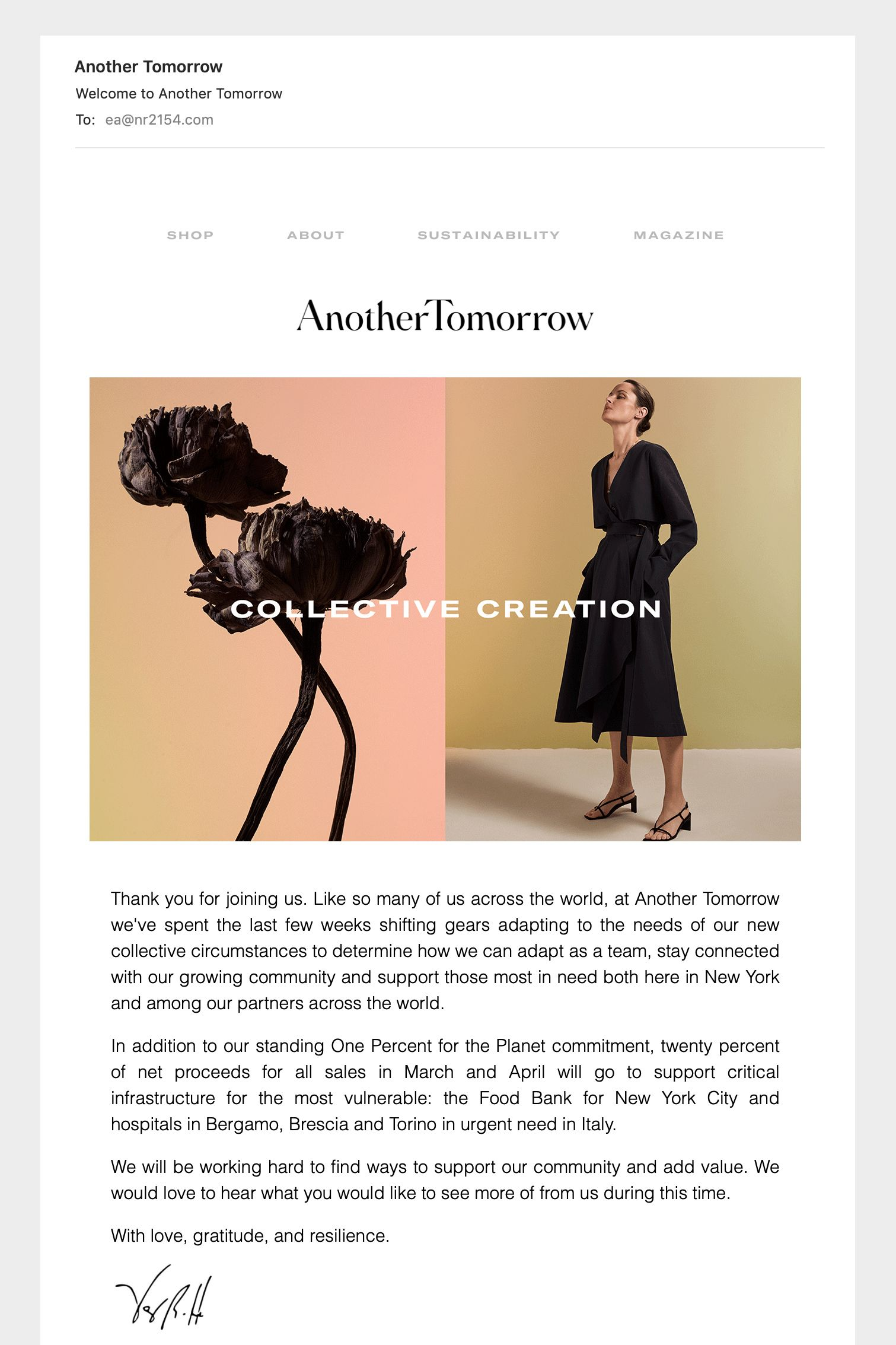 Another Tomorrow newsletter design