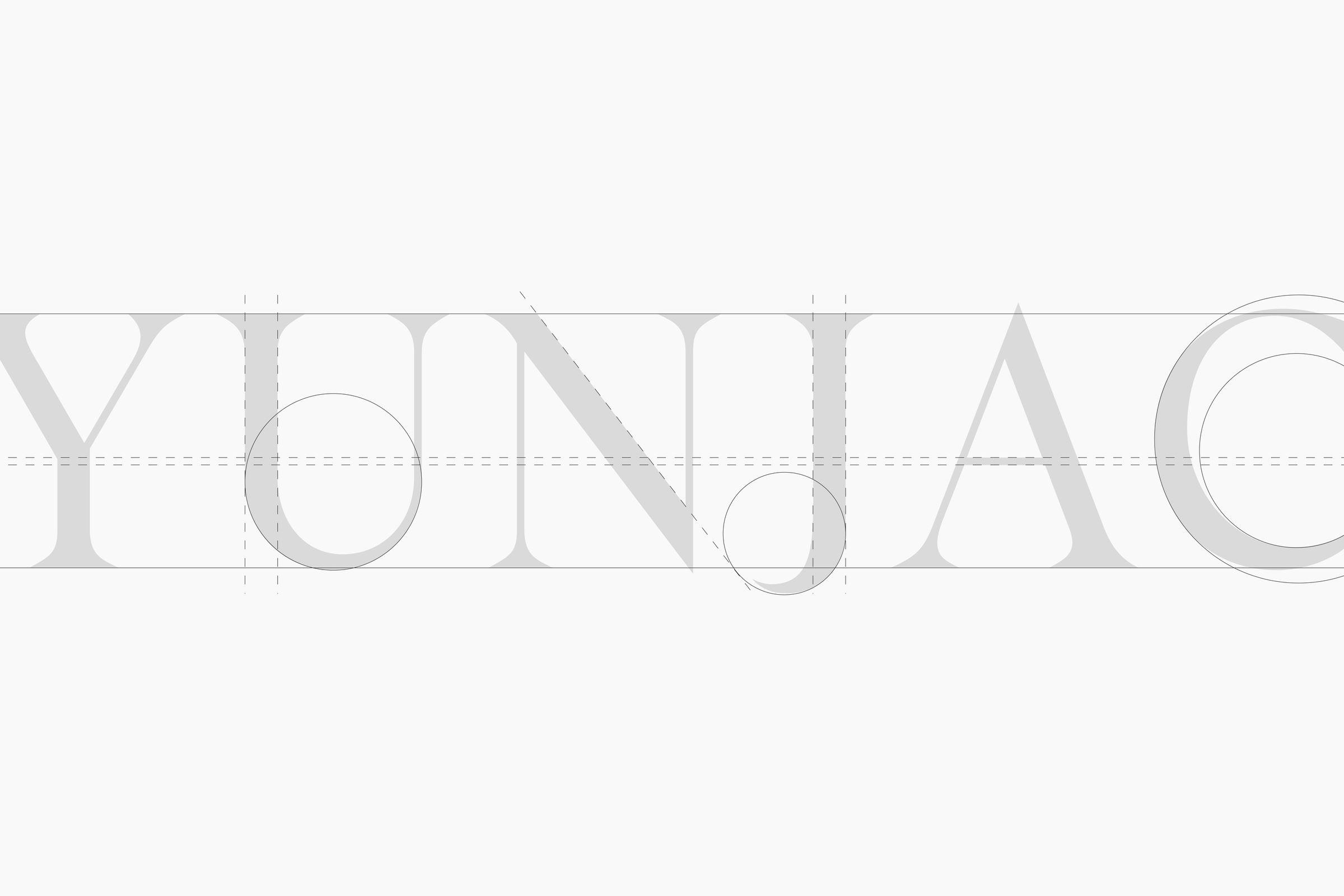 Yunjac logo design typography details