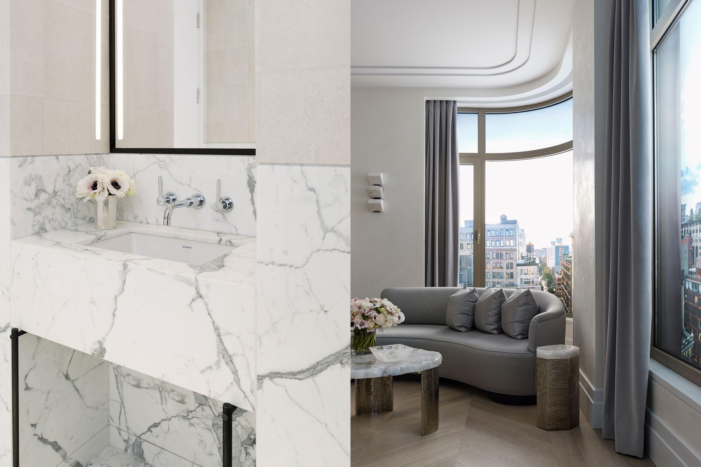 40 Bleecker interior photography bathroom and living room