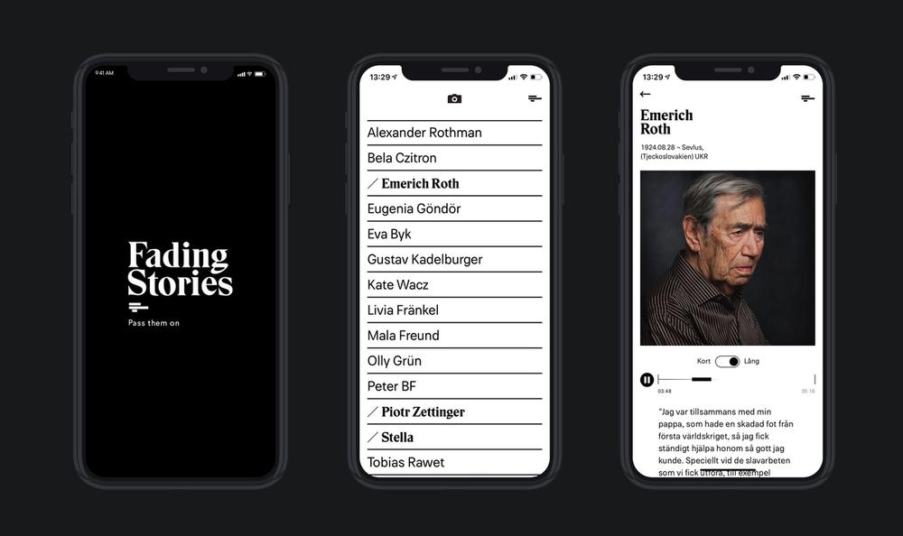 An image of different pages from the iOS app.