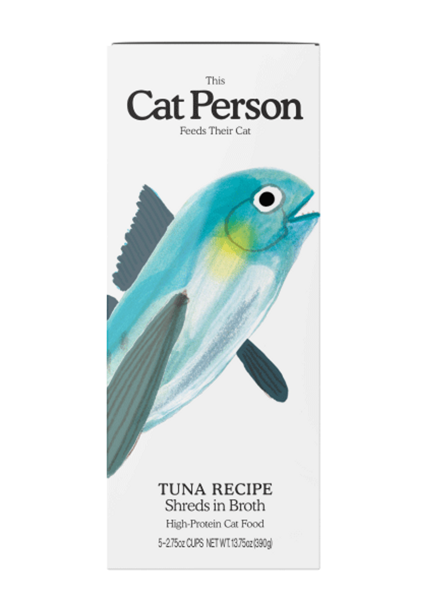 Sleeve of Cat Person tuna shreds in broth wet food