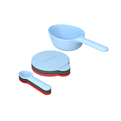 Cat Person serve & store set, including three wet food spoons, three reusable wet food lids, and one dry food scoop