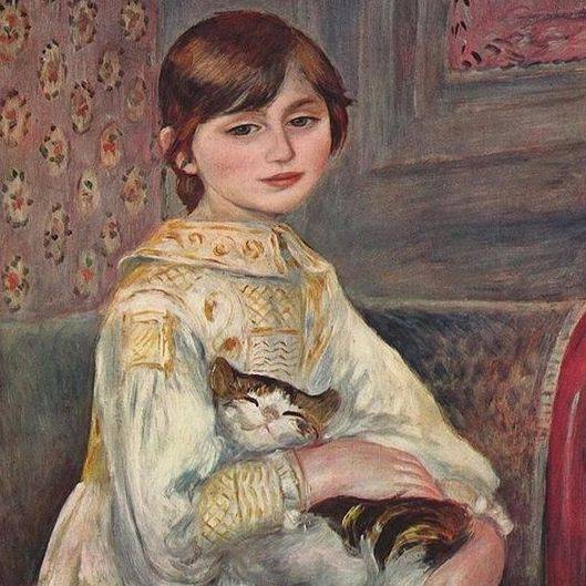 A painting of a young girl holding a sleeping cat in her arms