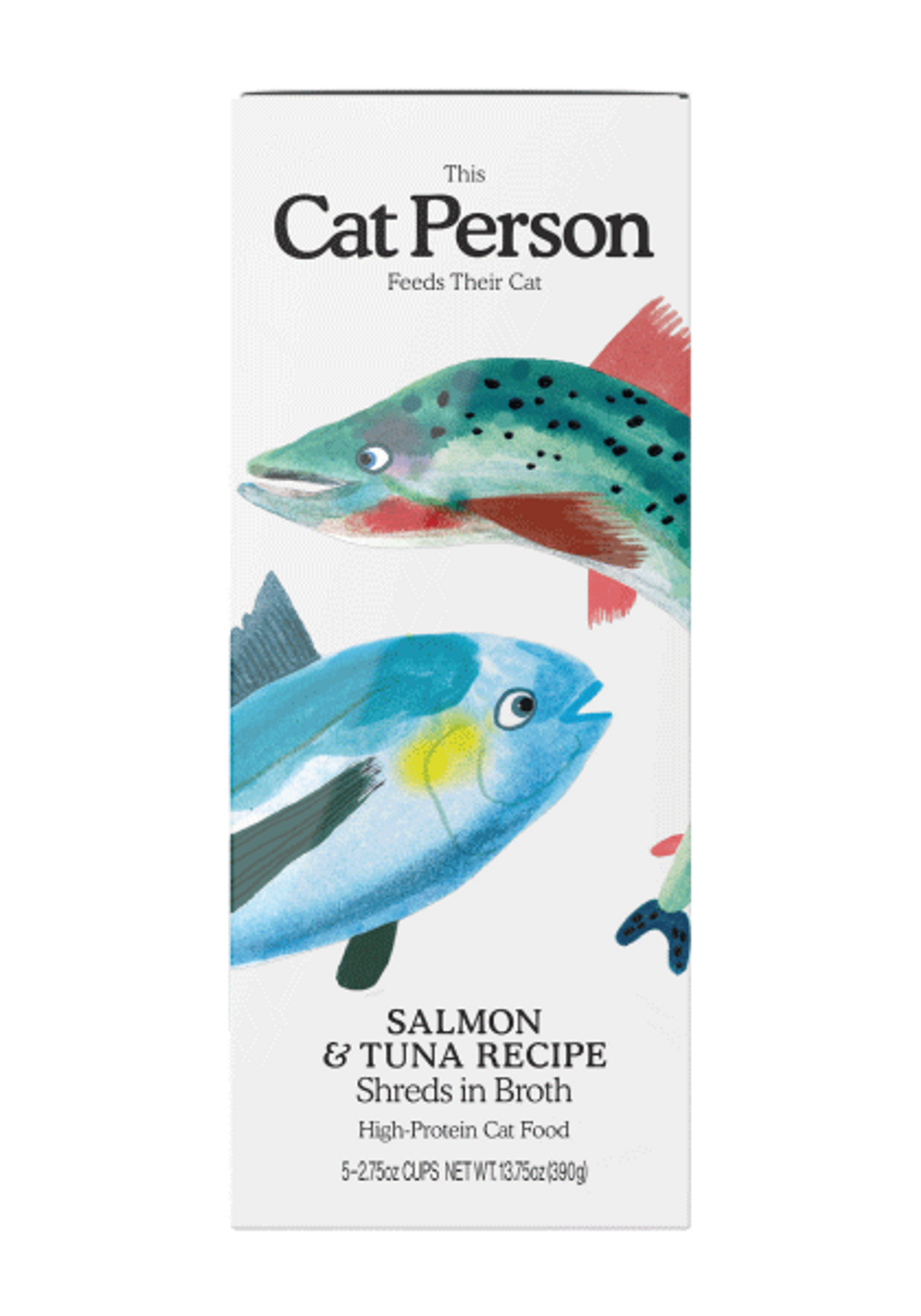 Sleeve of Cat Person salmon & tuna shreds in broth wet food