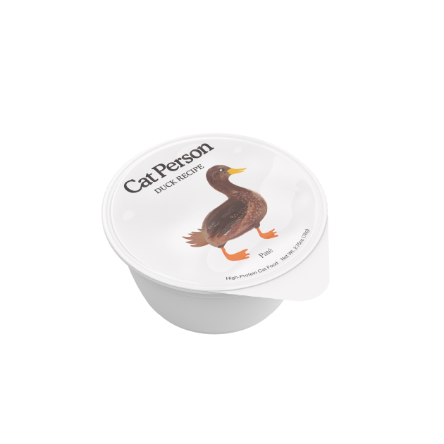 Cup of Cat Person duck paté wet food