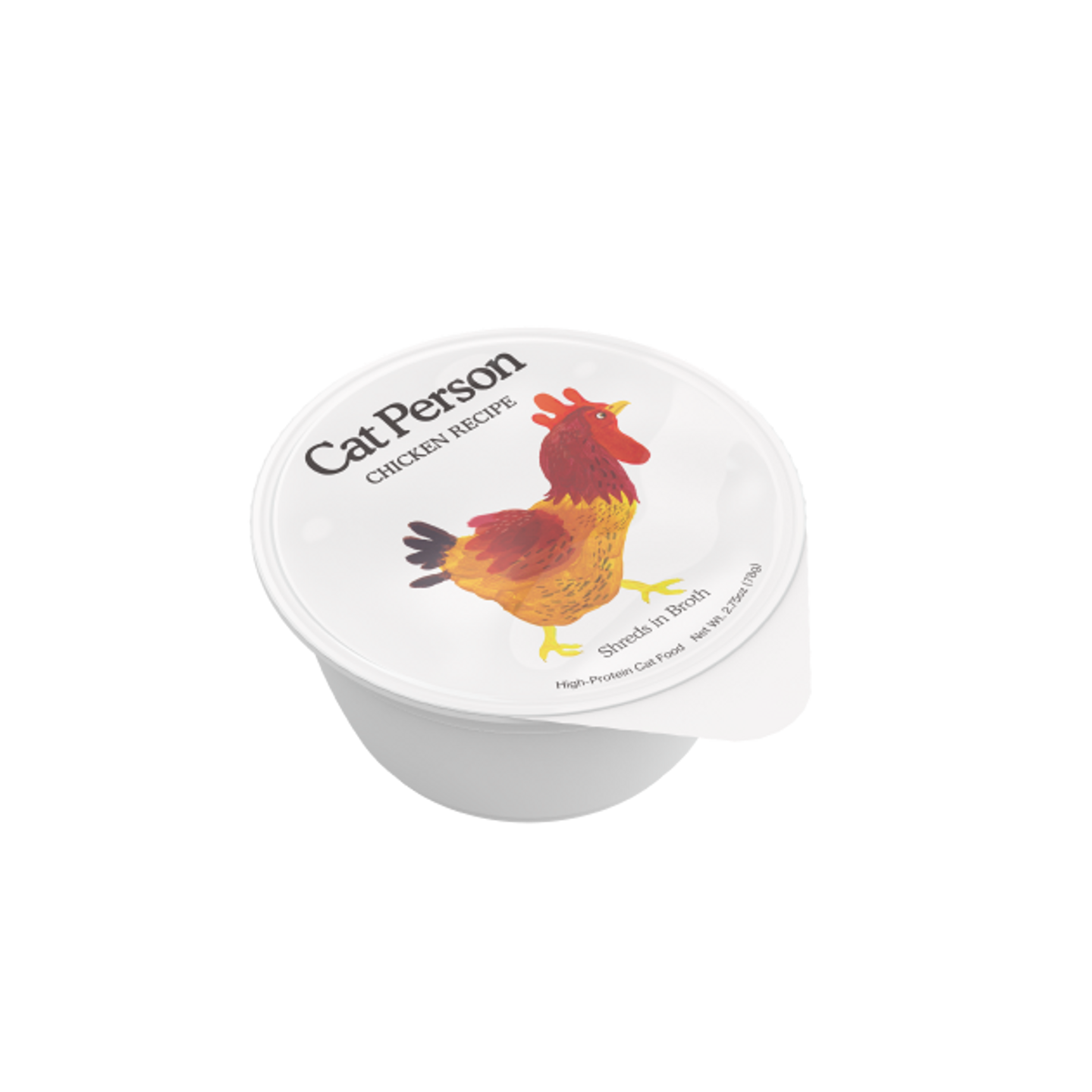 Cup of Cat Person chicken shreds in broth wet food