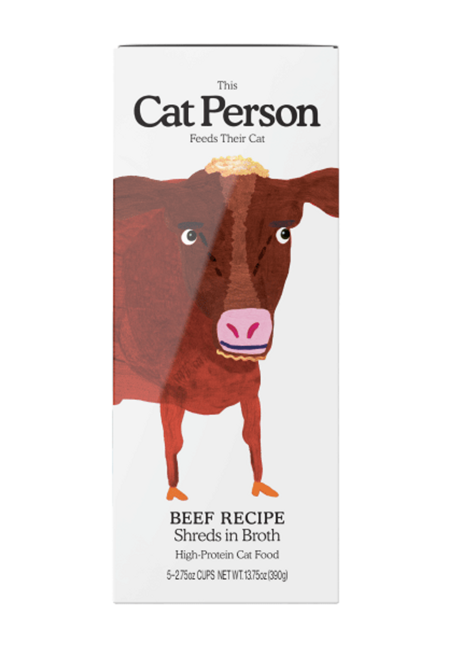 Sleeve of Cat Person beef shreds in broth wet food
