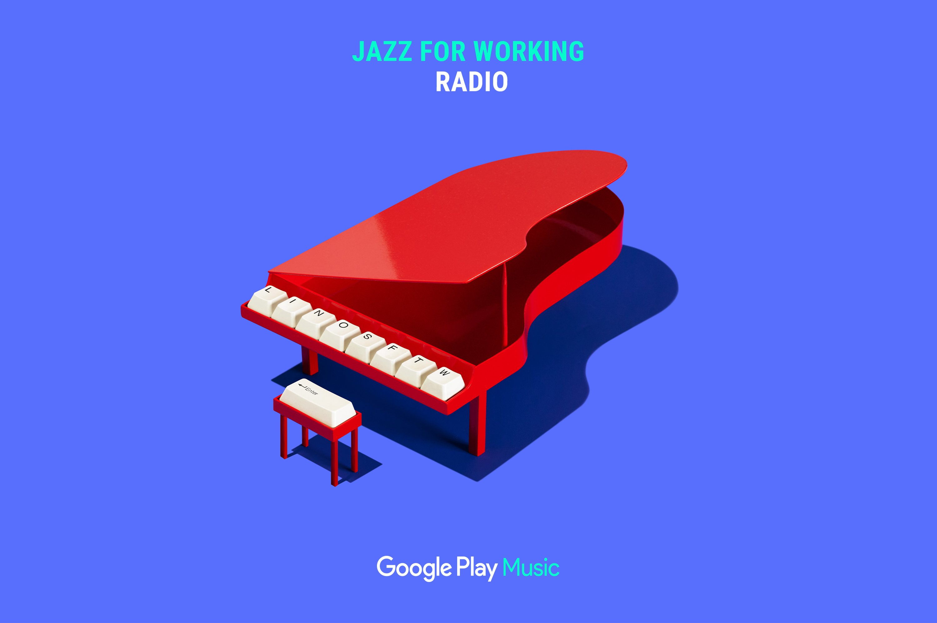 Google Play Music –Jazz for Working Radio ad featuring red grand piano with keyboard keys in place of piano keys. Campaign concept and Art Direction by RoAndCo
