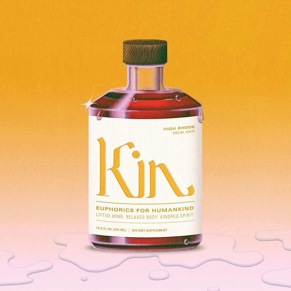 Illustration of Kin Euphorics bottle by Robert Beatty. Campaign art direction, packaging design, and branding by RoAndCo