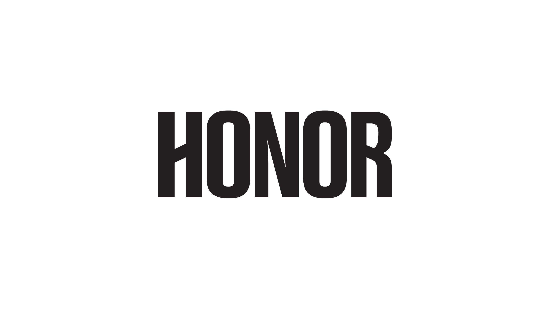 Black Honor logo on white background, branding design by RoAndCo Studio