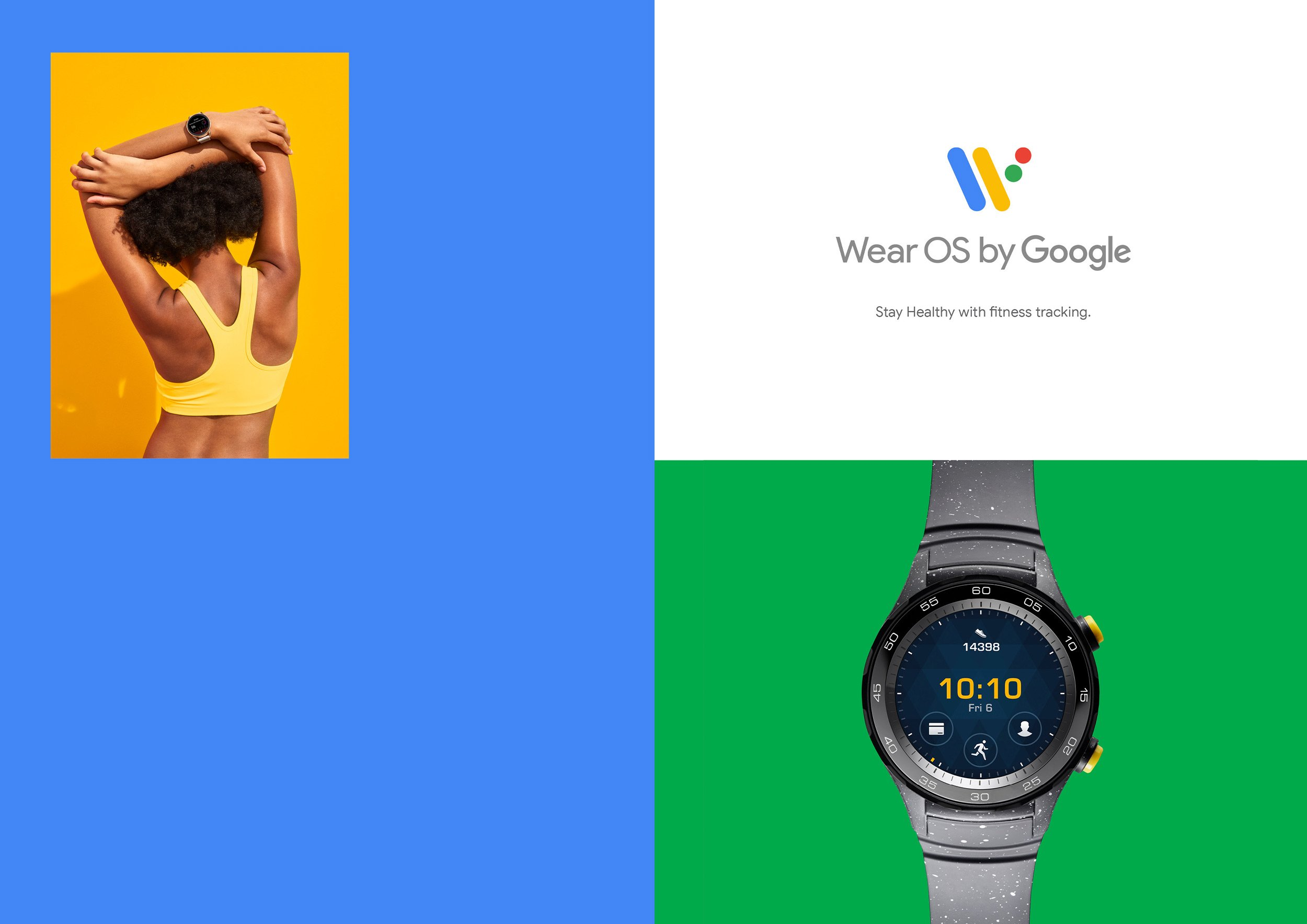 Google Wear OS campaign as, Stay Healthy with fitness tracking. Design by RoAndCo