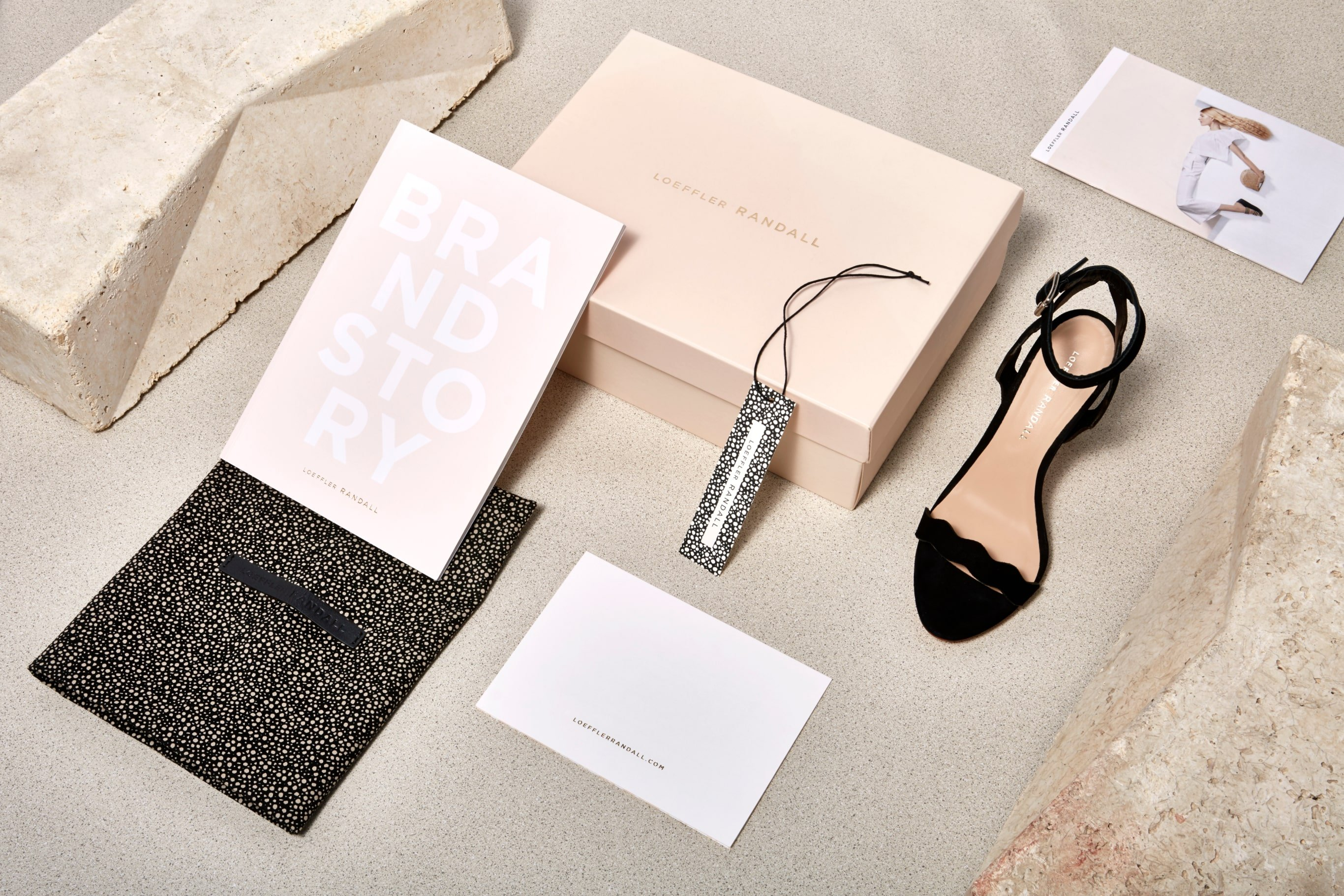Loeffler Randall brand boxes. Featuring custom printed materials for interior and exterior packaging. Branding, packaging design and Art Direction by RoAndCo