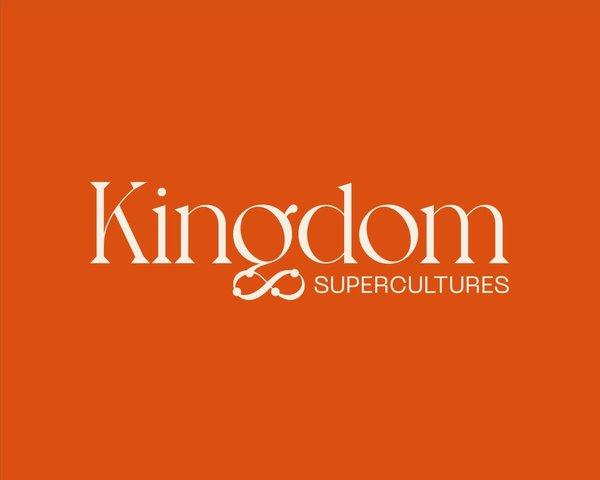 Kingdom Supercultures custom logo on orange background, branding by RoAndCo Studio