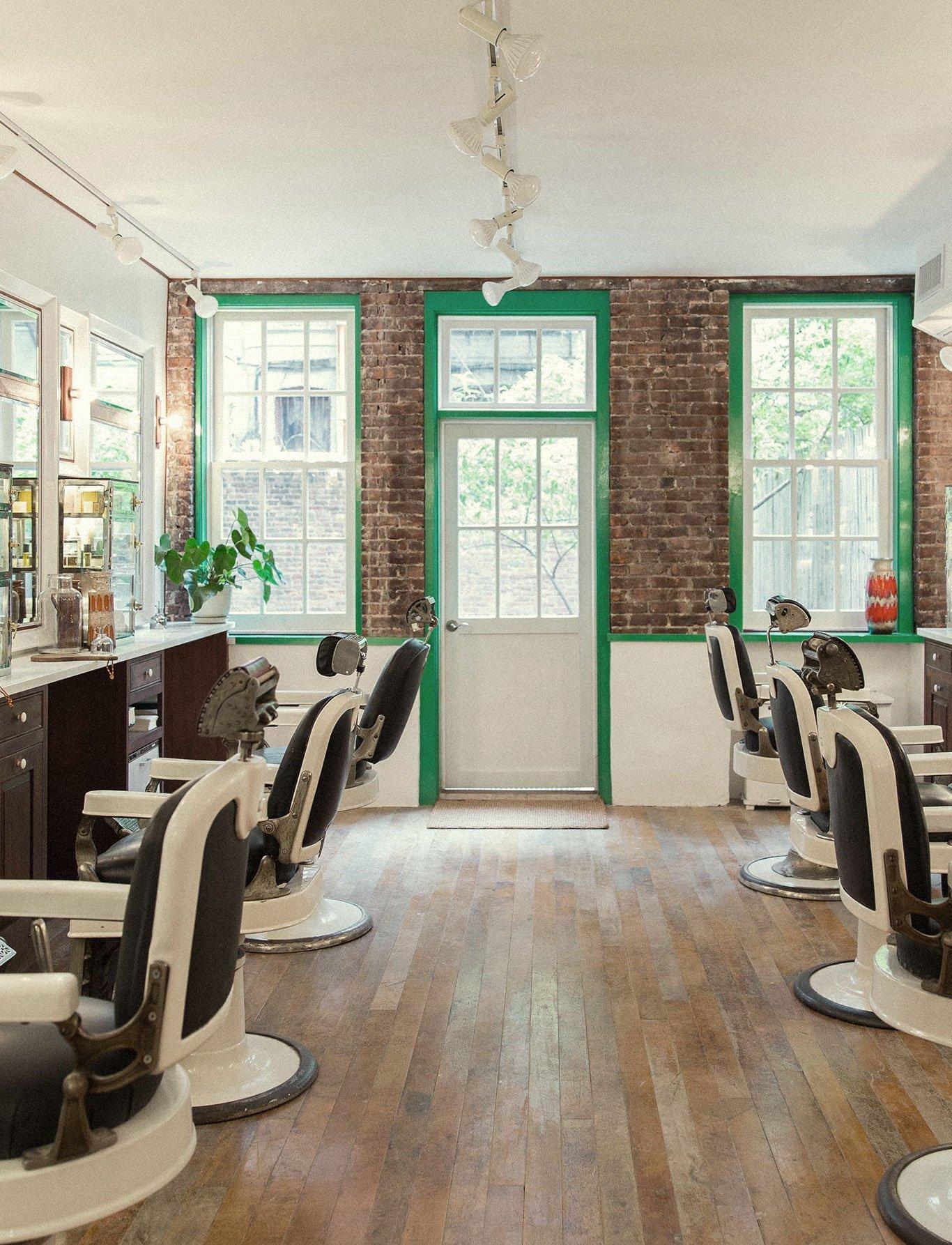 Interior of Fellow barbershop in Williamsburg, Brooklyn, branding by RoAndCo