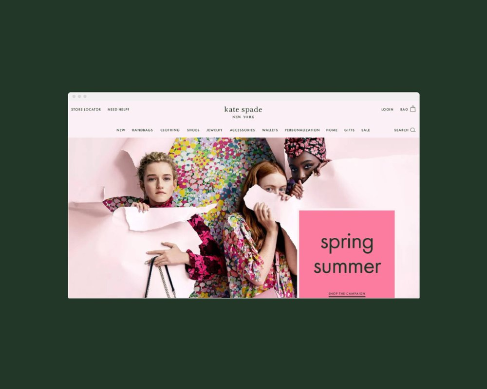 Kate Spade website homepage. Spring Summer collection, pink and green floral. Web design by RoAndCo