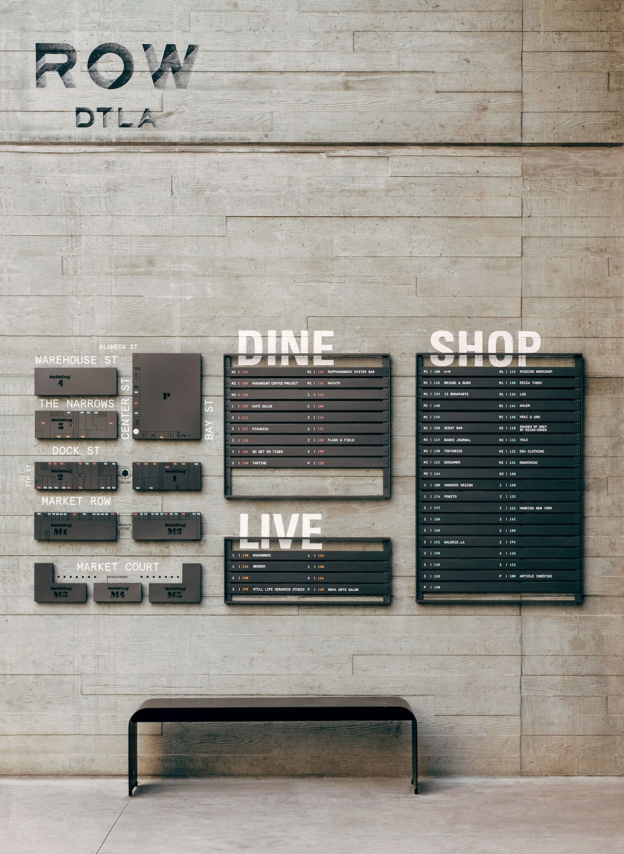 Row DTLA interior signage and directions with custom engraved logo, branding by RoAndCo