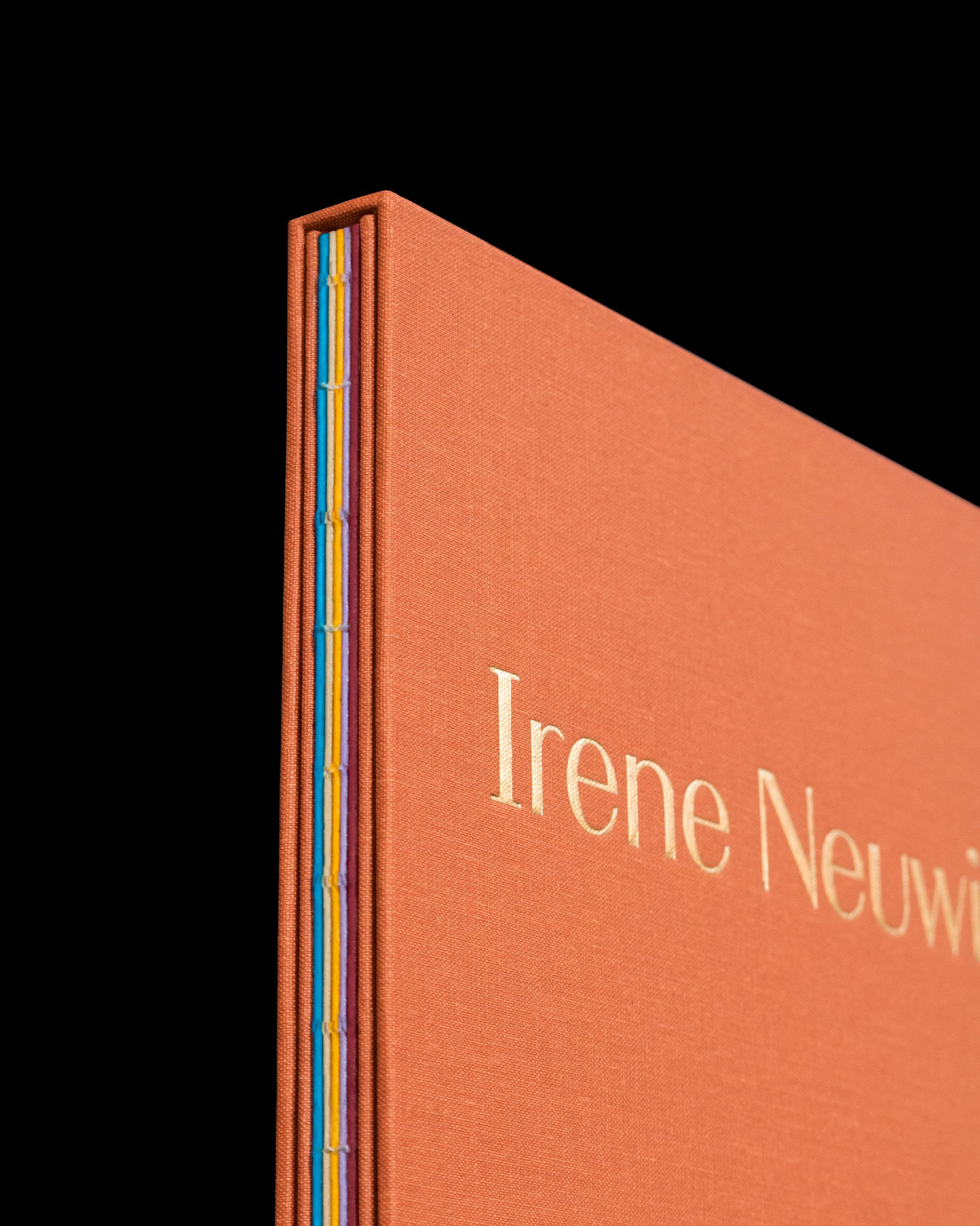 Irene Neuwirth brand book. Linen-bound, gold stamped, published by Proof 7. Art direction and print design by RoAndCo