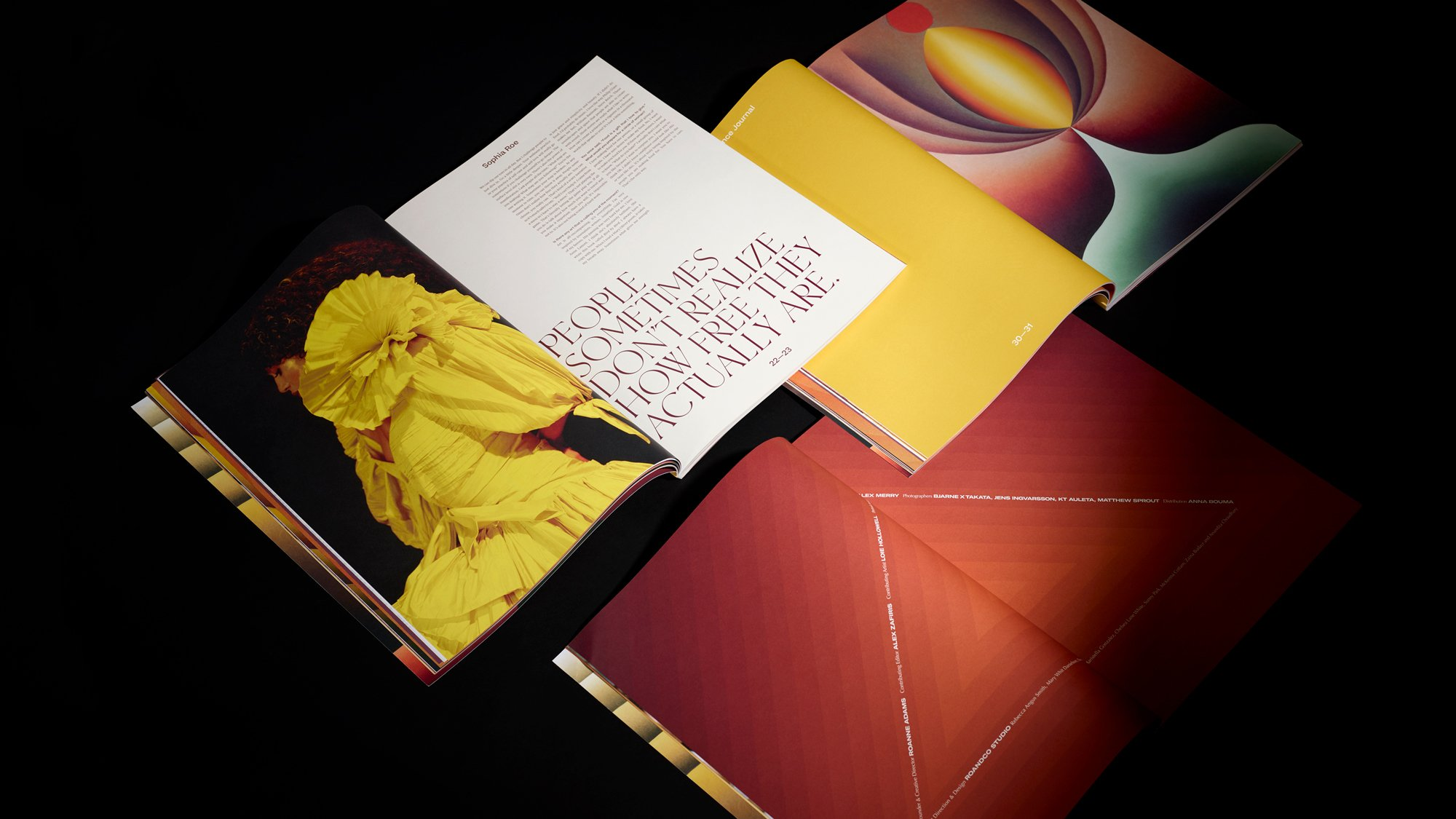 Romance Journal Issue 03 interior spreads. Romance Journal issue 03 cover – Creation. Publication design, art direction, print design, edited by RoAndCo